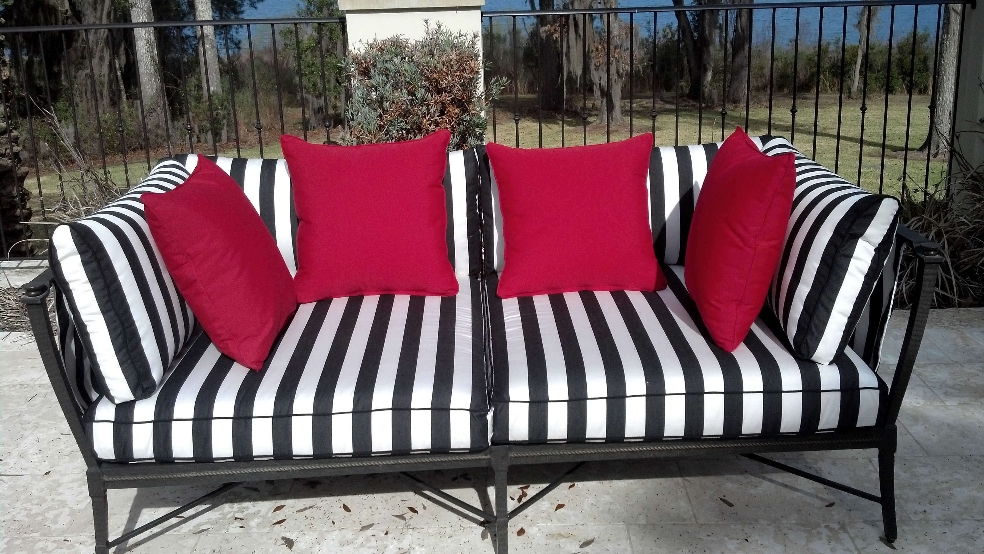 Furniture: Interesting Sunbrella Outdoor Furniture For Patio with regard to Striped Sofas And Chairs (Image 16 of 30)