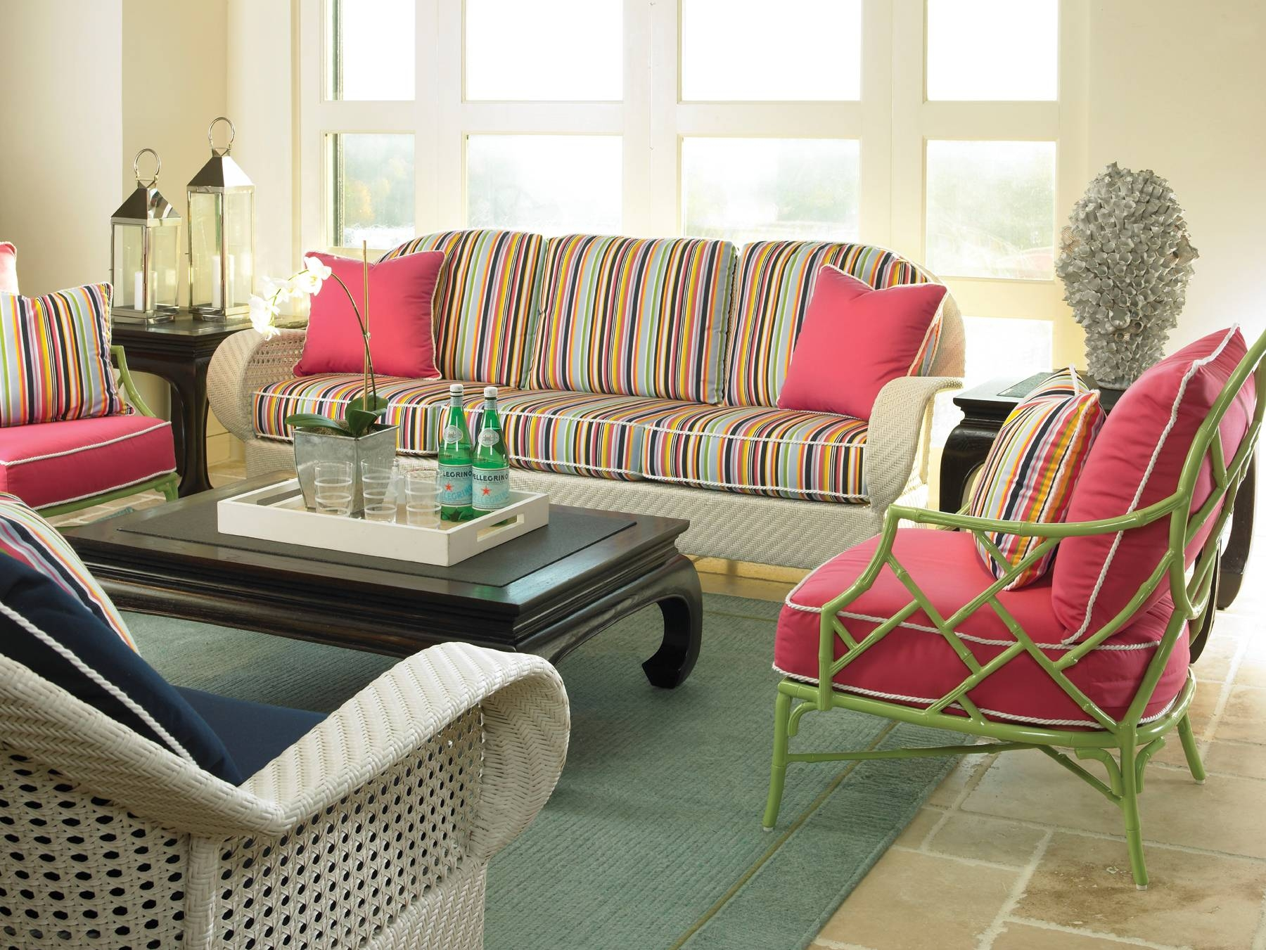 Furniture: Interesting Sunbrella Outdoor Furniture For Patio with Striped Sofas and Chairs (Image 17 of 30)