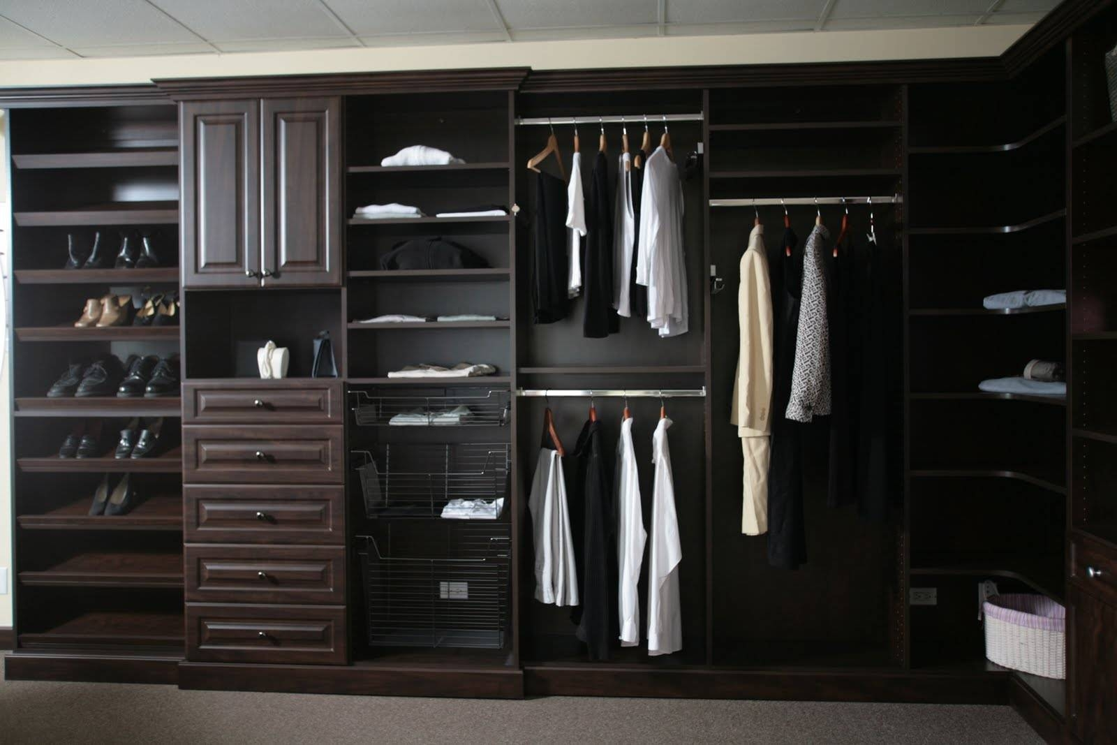 Furniture. L Shaped Dark Brown Polished Wooden Wardrobe Closet regarding Dark Wood Wardrobe Closet (Image 13 of 30)