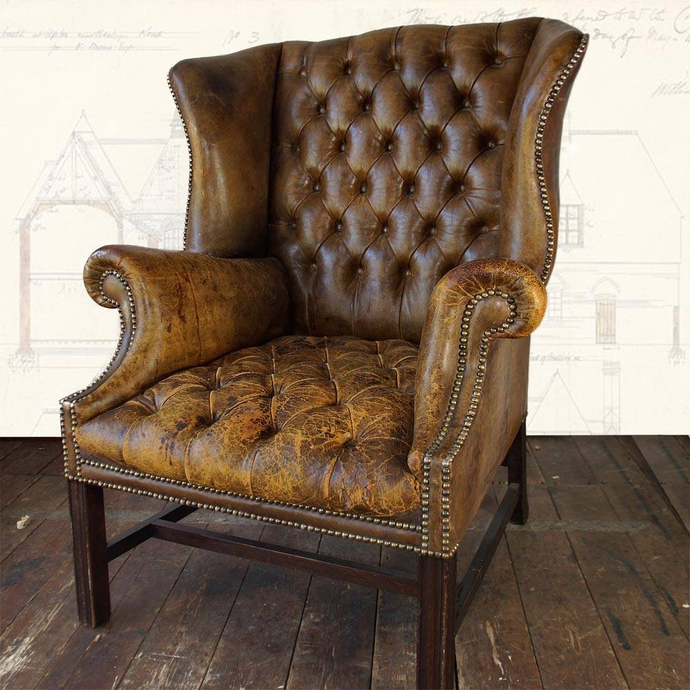 Furniture: Leather Club Chair | Leather Club Recliner | Leather intended for Vintage Leather Armchairs (Image 6 of 30)