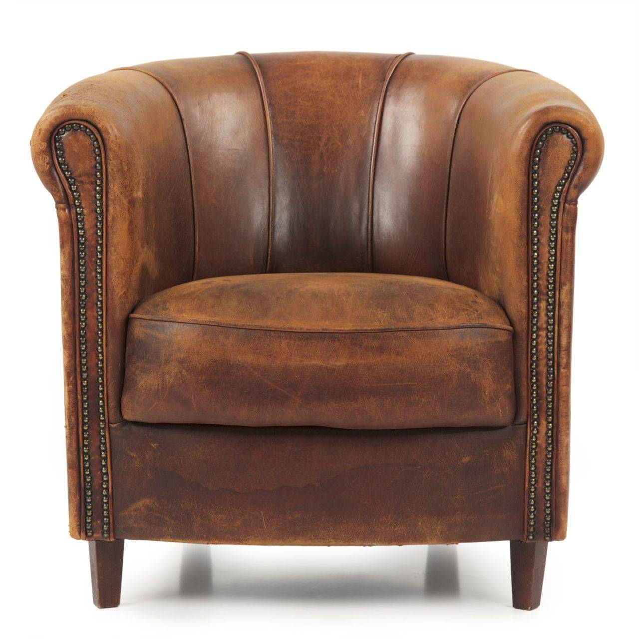 Furniture: Leather Club Chair | Recliner Club Chair | Leather with Vintage Leather Armchairs (Image 7 of 30)