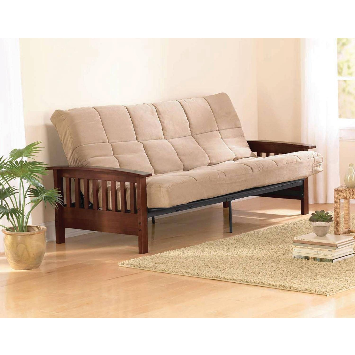 Furniture: Leather Futon Walmart With Modern Look And Stylish for Big Lots Sofa Bed (Image 14 of 30)