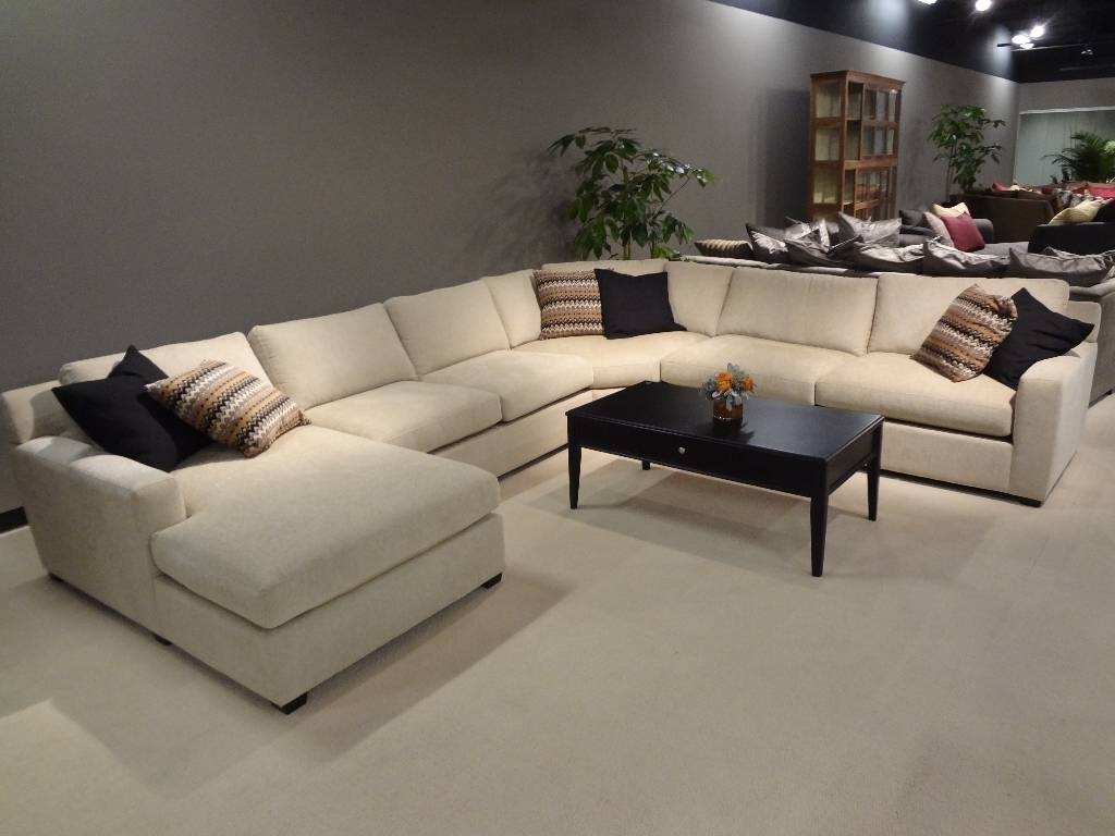 Furniture: Leather Sofa With Chaise | Extra Large Sectional Sofa for Sectional Sofa With Large Ottoman (Image 12 of 30)