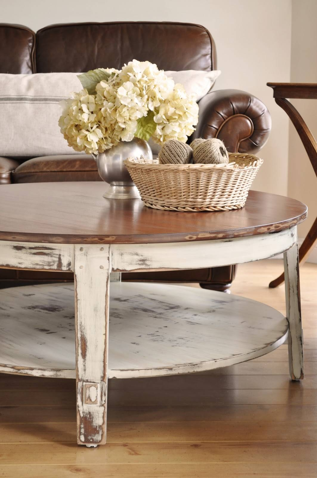 Furniture: Legend Star Distressed Coffee Table With Special Accent in White and Brown Coffee Tables (Image 14 of 30)