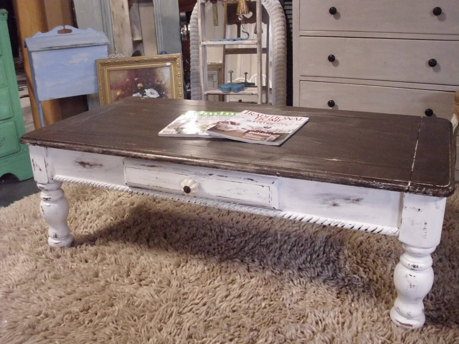 Furniture: Legend Star Distressed Coffee Table With Special Accent pertaining to White And Brown Coffee Tables (Image 15 of 30)