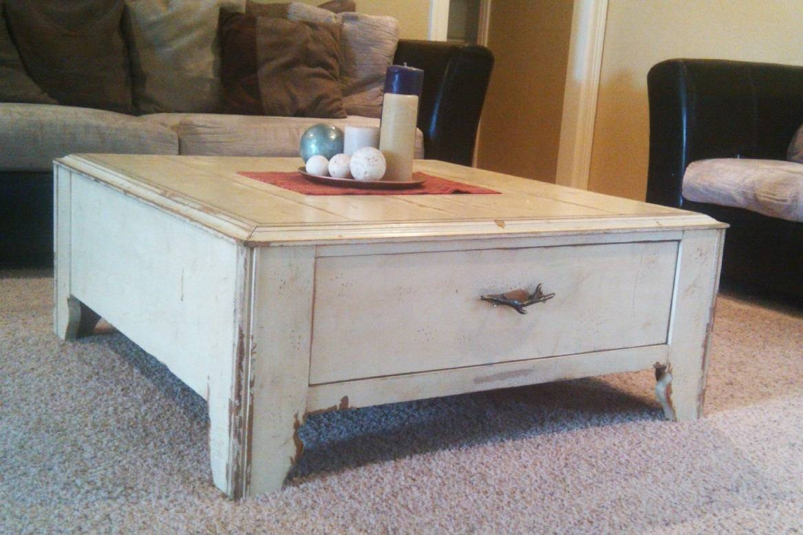 Furniture: Legend Star Distressed Coffee Table With Special Accent Regarding Cream Coffee Tables With Drawers (View 17 of 25)