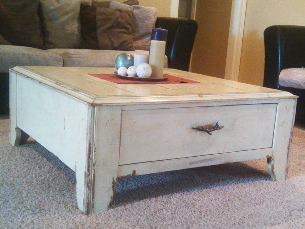 Furniture: Legend Star Distressed Coffee Table With Special Accent within Square Coffee Tables With Drawers (Image 17 of 30)