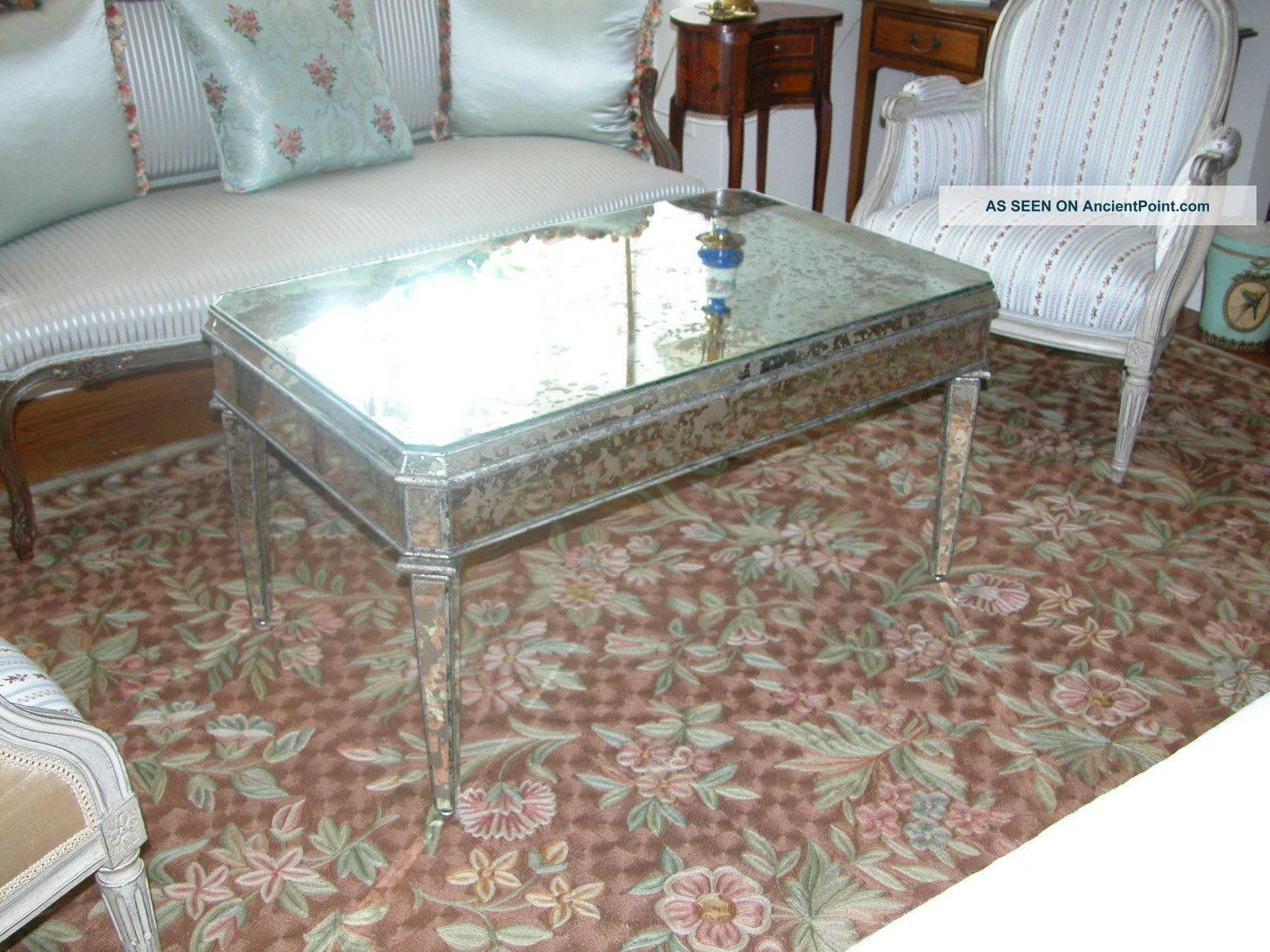 Furniture: Lovely Antique Square Mirrored Coffee Table With Iron throughout Antique Mirrored Coffee Tables (Image 14 of 30)