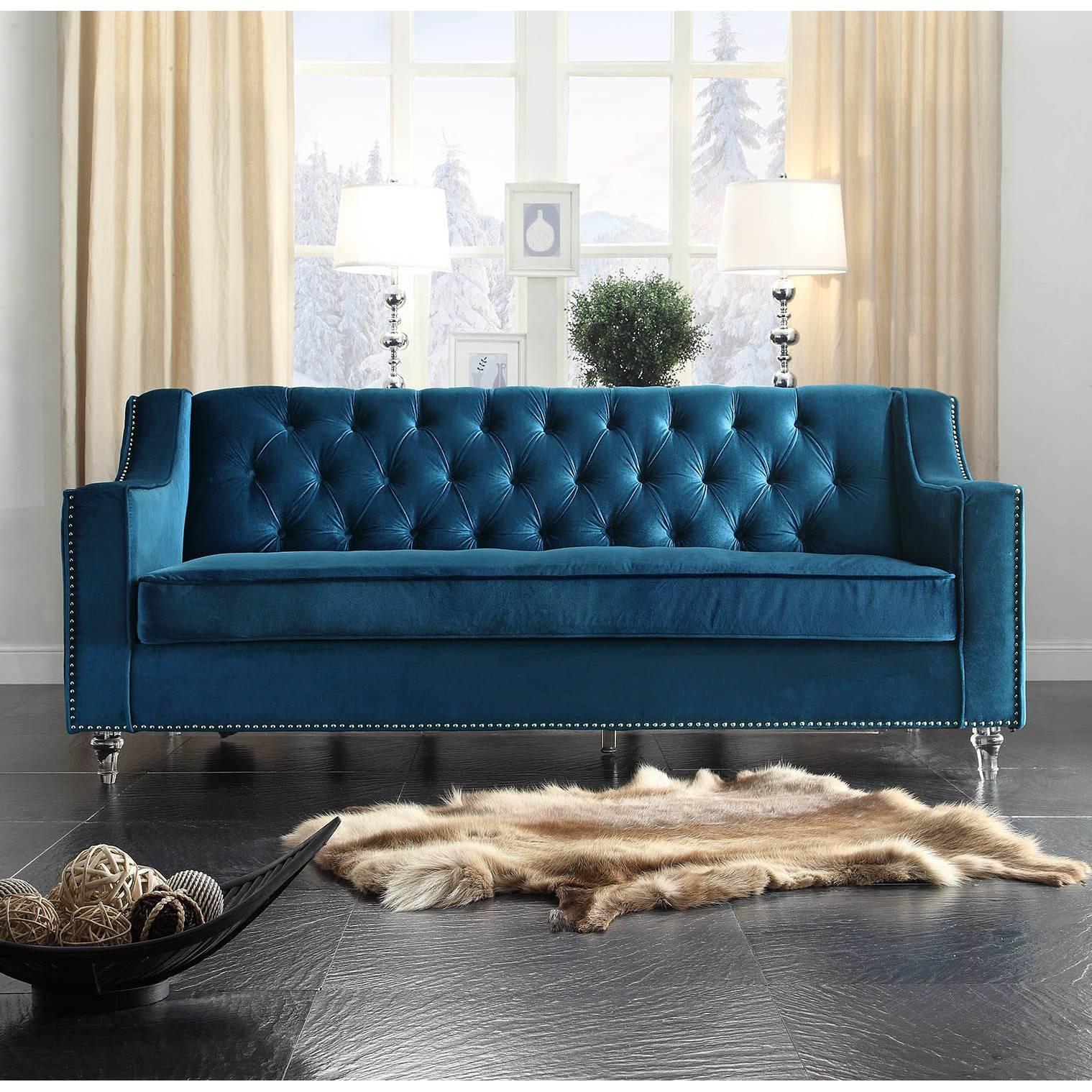 Furniture: Luxury Ava Velvet Tufted Sleeper Sofa For Elegant regarding Blue Tufted Sofas (Image 16 of 30)