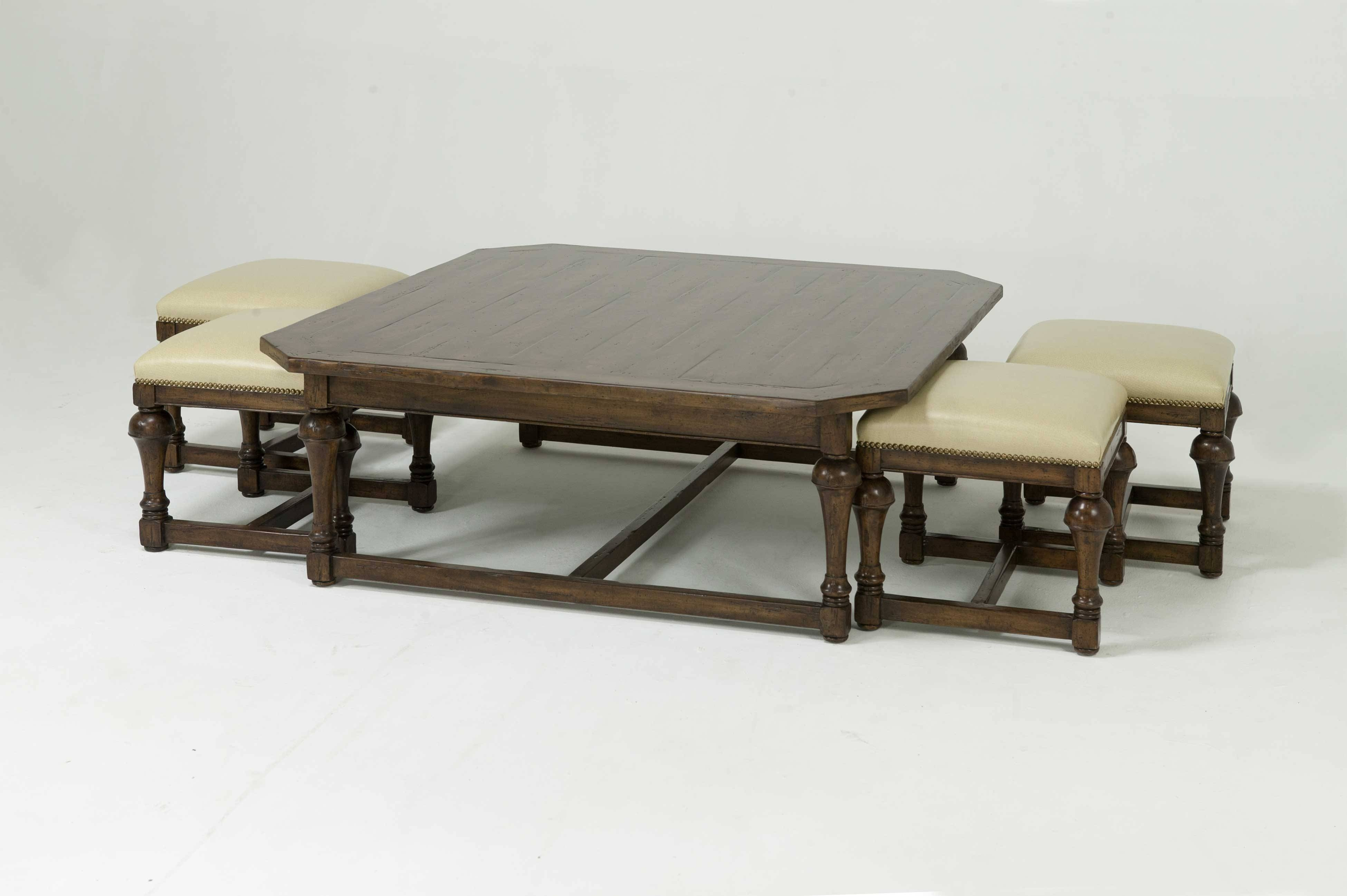 Furniture: Luxury Coffee Table With Stools For Living Room for Square Coffee Tables With Storages (Image 14 of 30)