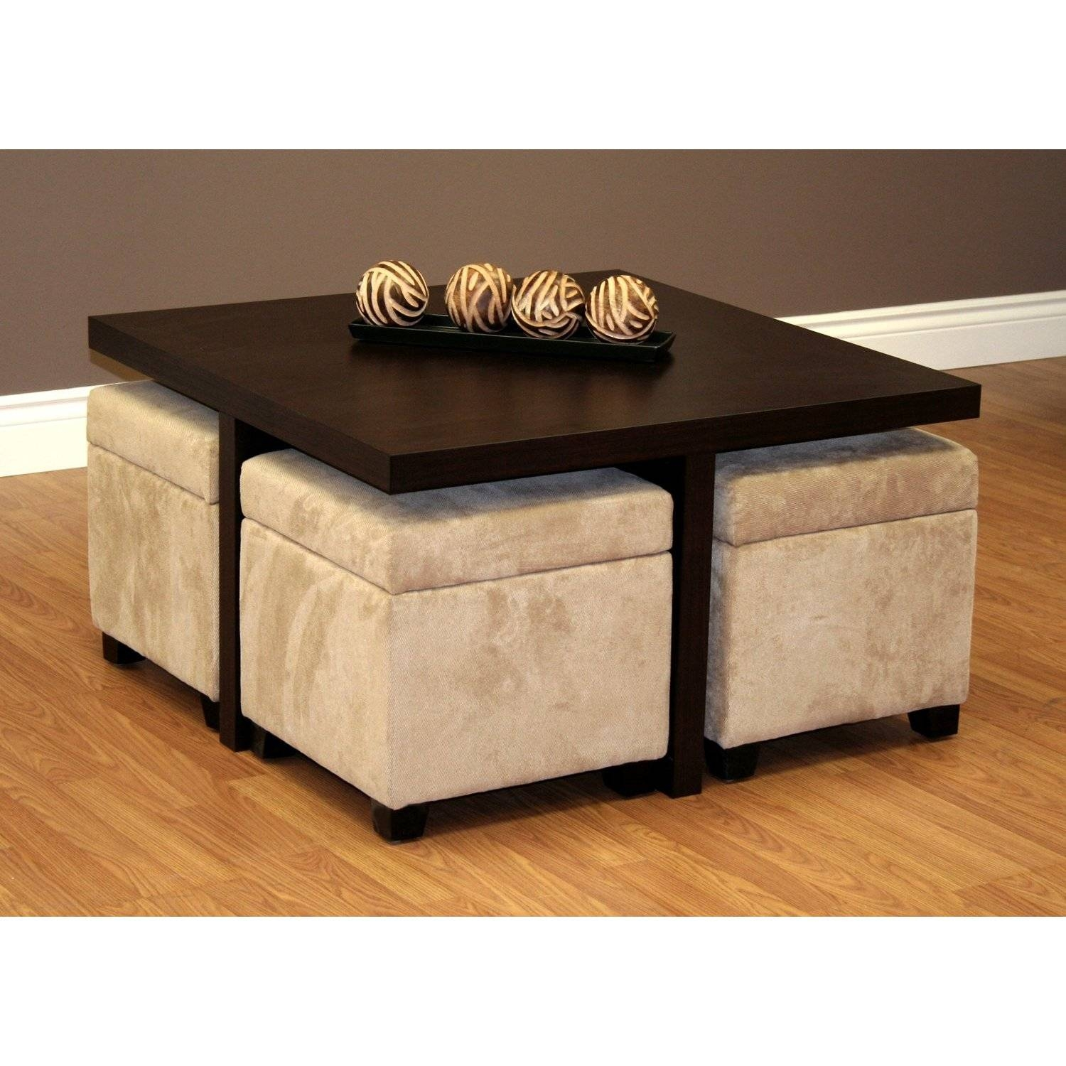 Furniture: Luxury Coffee Table With Stools For Living Room pertaining to Square Dark Wood Coffee Table (Image 20 of 30)