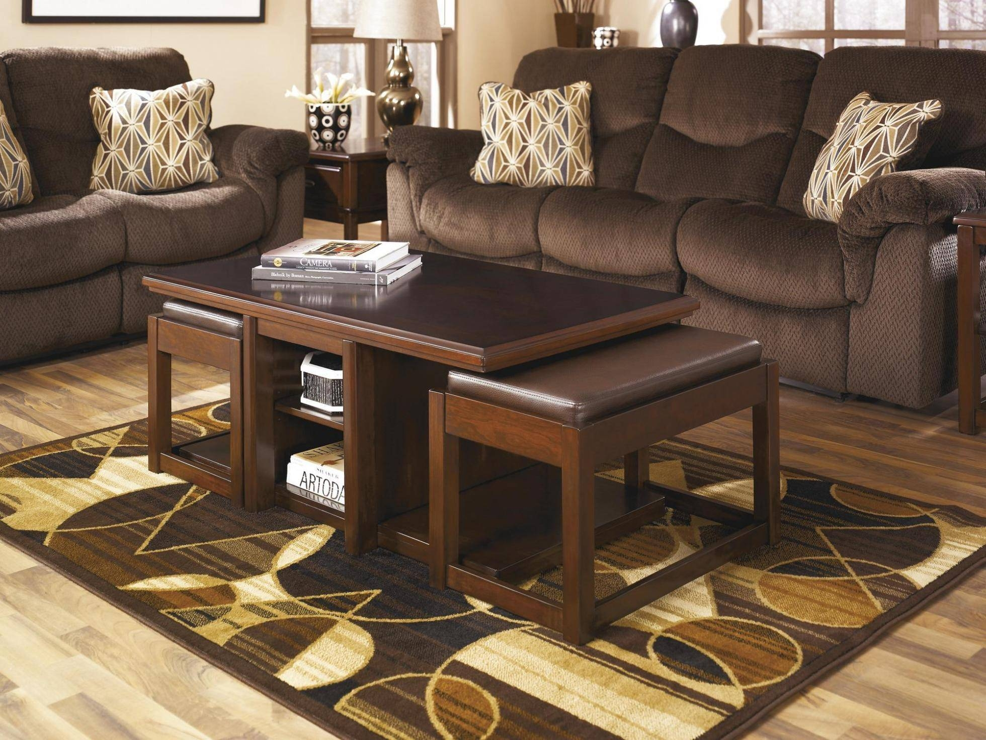 Furniture: Luxury Coffee Table With Stools For Living Room Regarding Coffee Tables With Nesting Stools (View 12 of 30)