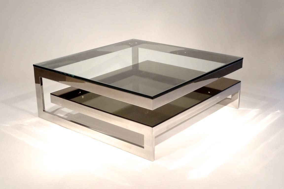 Furniture Luxury Coffee Tables Ideas: Silver Square Modern Metal In Glass And Silver Coffee Tables (View 13 of 30)