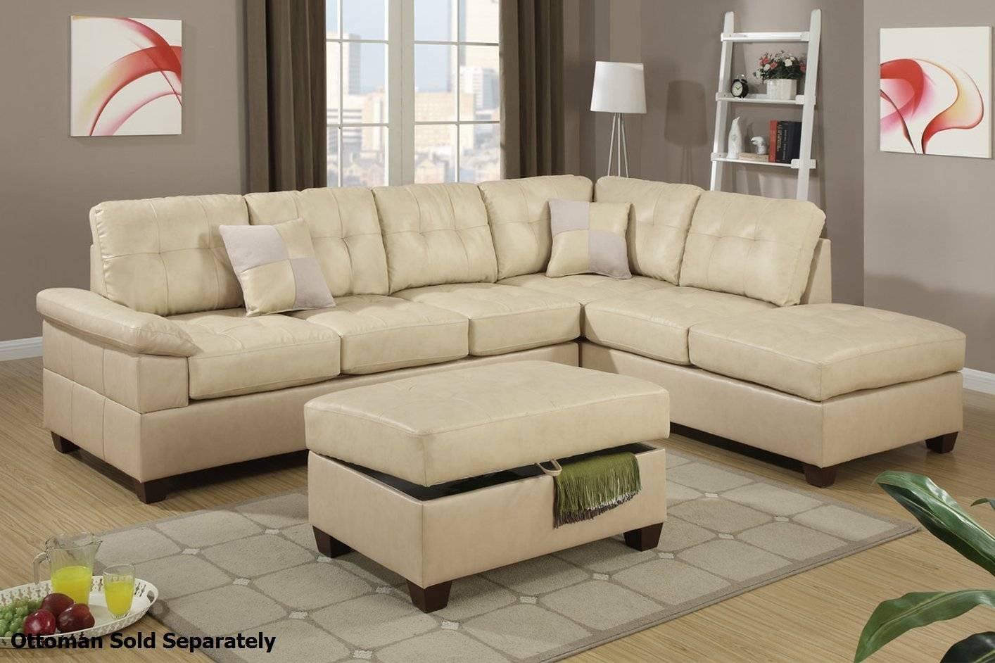 Furniture: Luxury Leather Sectional Sofa For Elegant Living Room throughout Ivory Leather Sofas (Image 8 of 30)