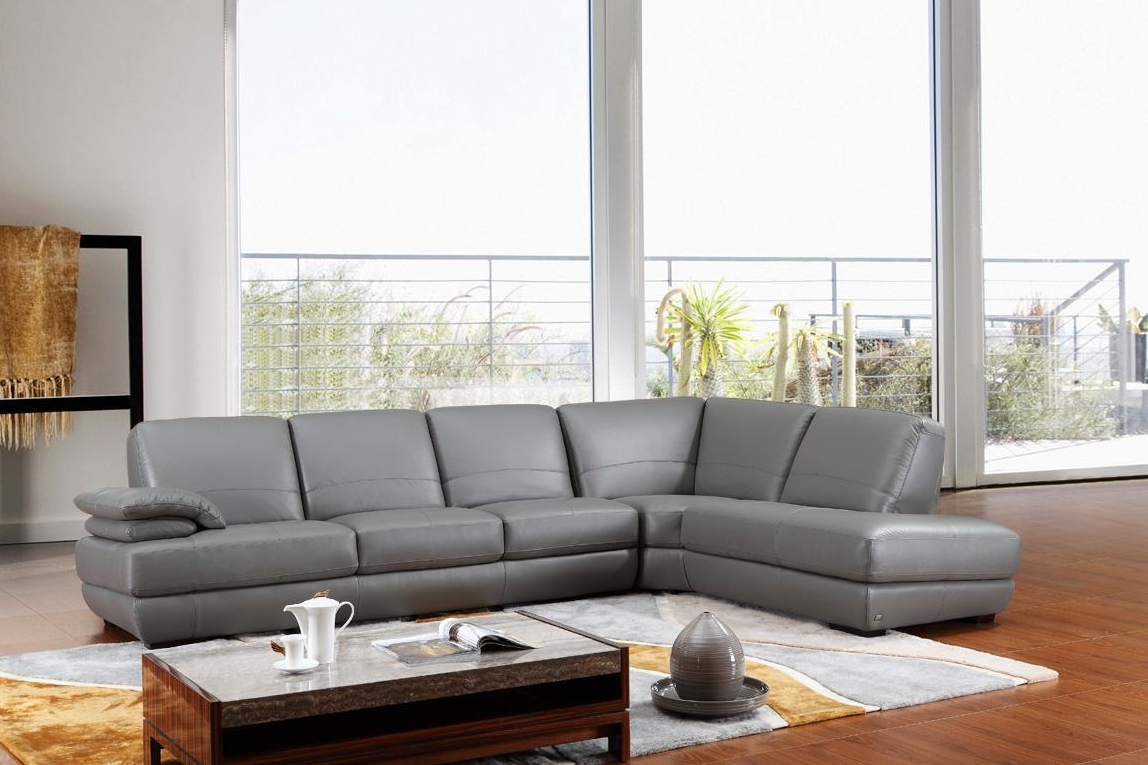 Furniture: Luxury Leather Sectional Sofa For Elegant Living Room with regard to Gray Leather Sectional Sofas (Image 13 of 30)