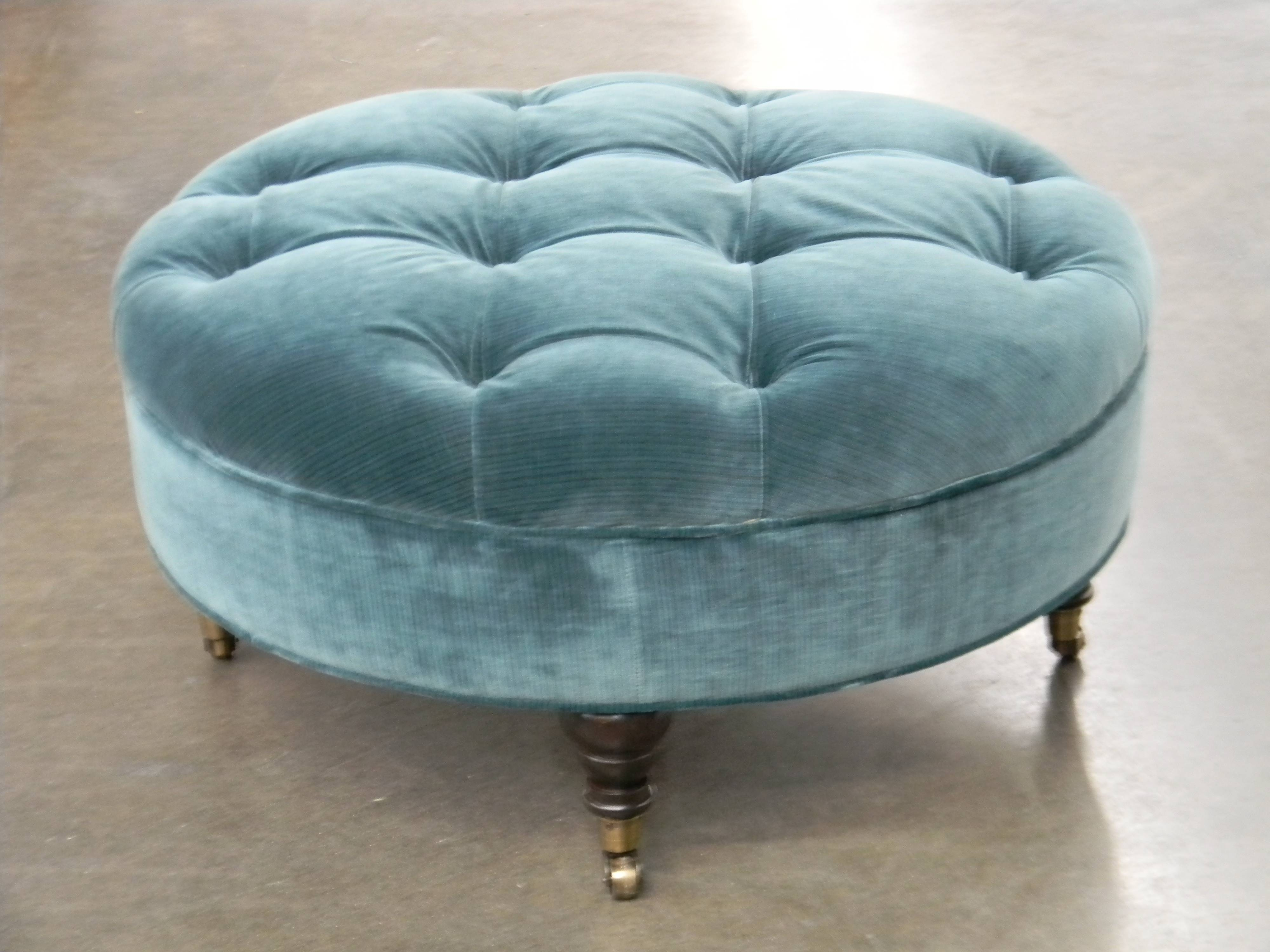 Furniture: Luxury Round Tufted Ottoman For Home Furniture Ideas in Green Ottoman Coffee Tables (Image 12 of 30)
