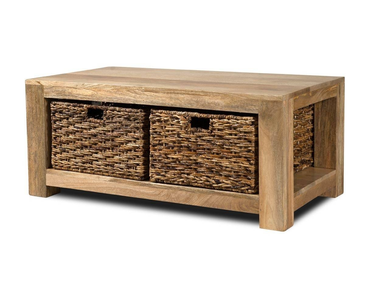 Furniture: Mango Wood Coffee Table Ideas Round Mango Wood Table throughout Coffee Table With Wicker Basket Storage (Image 18 of 30)