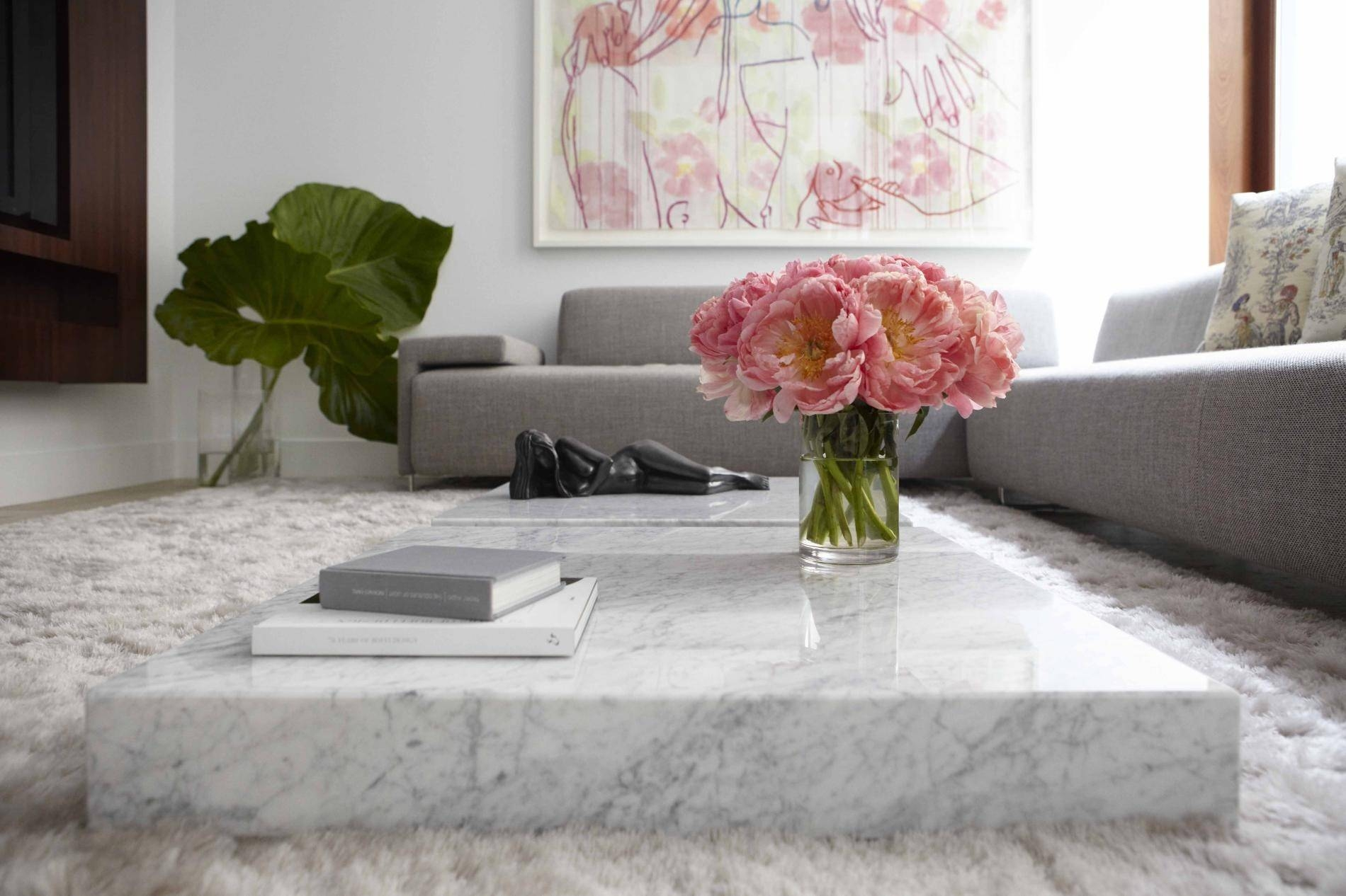 Furniture. Marble Coffee Tables Ideas: White Low Small Rectangular with Extra Large Low Coffee Tables (Image 12 of 30)