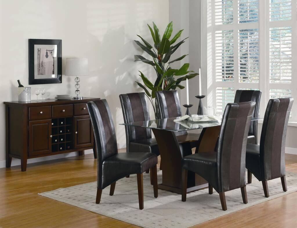 Furniture: Mesmerizing Glass Dining Table And Leather Chairs Set with regard to Glass Sideboards for Dining Room (Image 12 of 30)