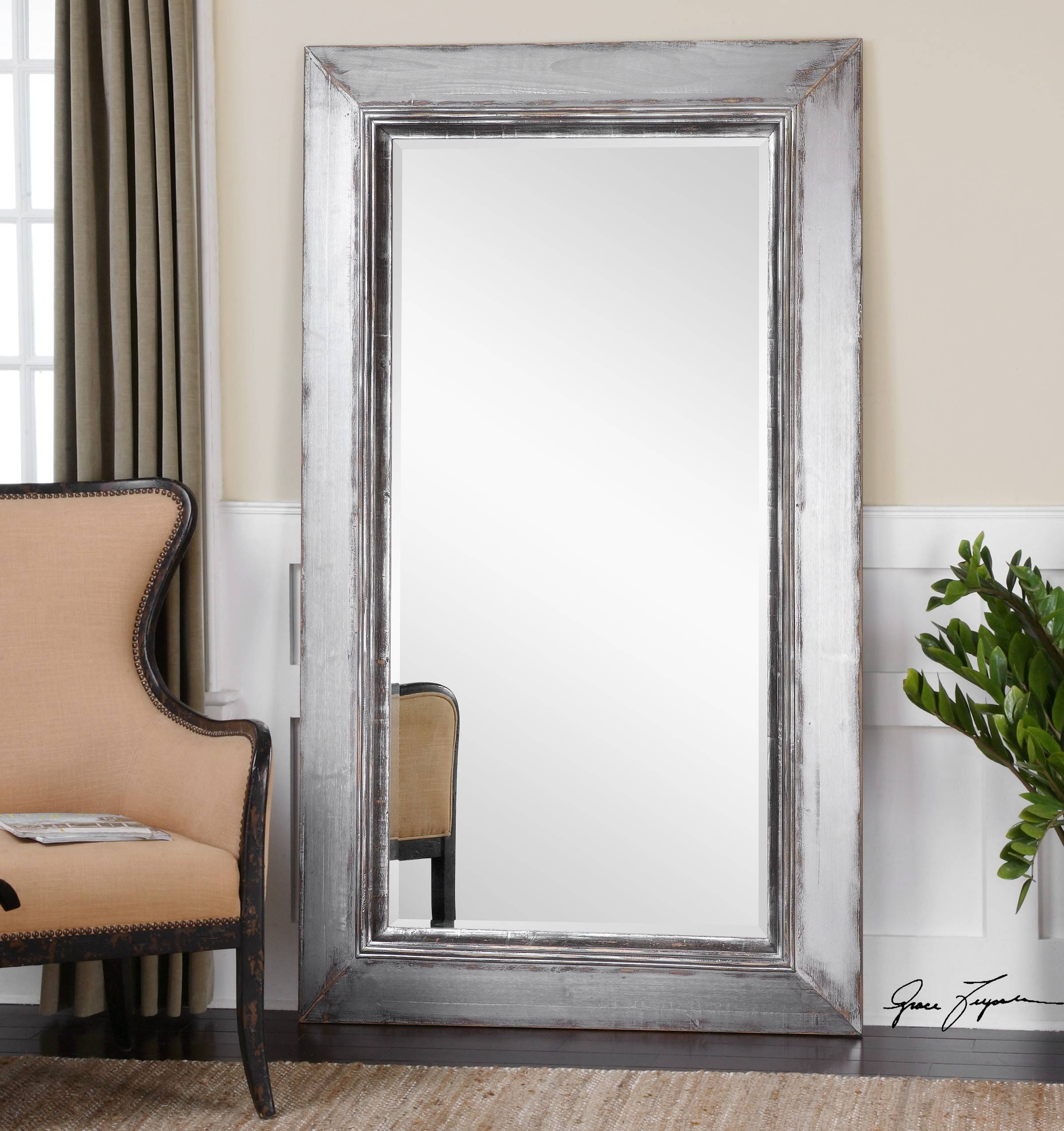 Furniture: Mesmerizing Oversized Floor Mirror For Home Furniture In Full Length Silver Mirrors (View 17 of 25)