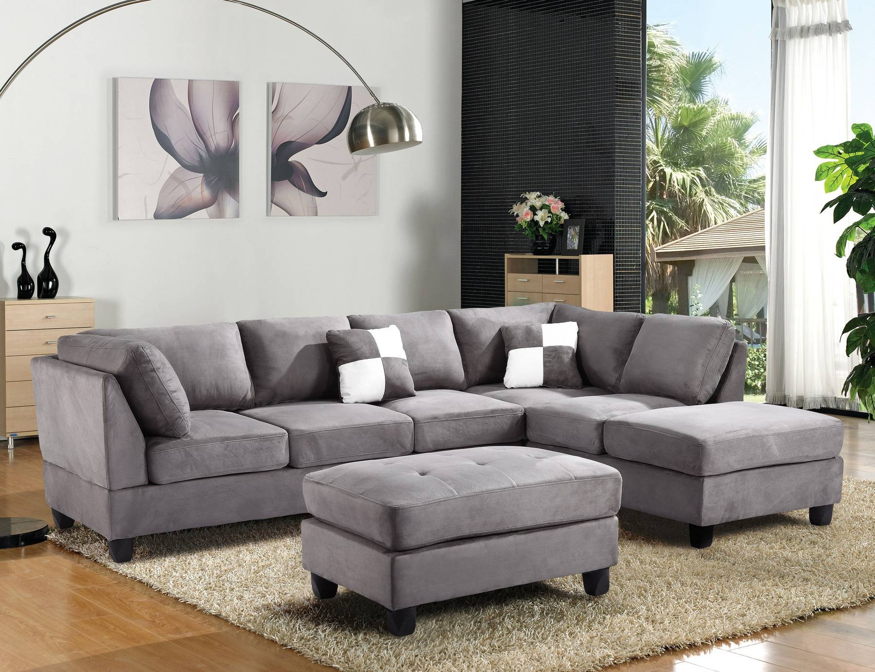 Furniture: Microfiber Sectional | Leather And Suede Sectional within Leather and Suede Sectional Sofa (Image 11 of 25)