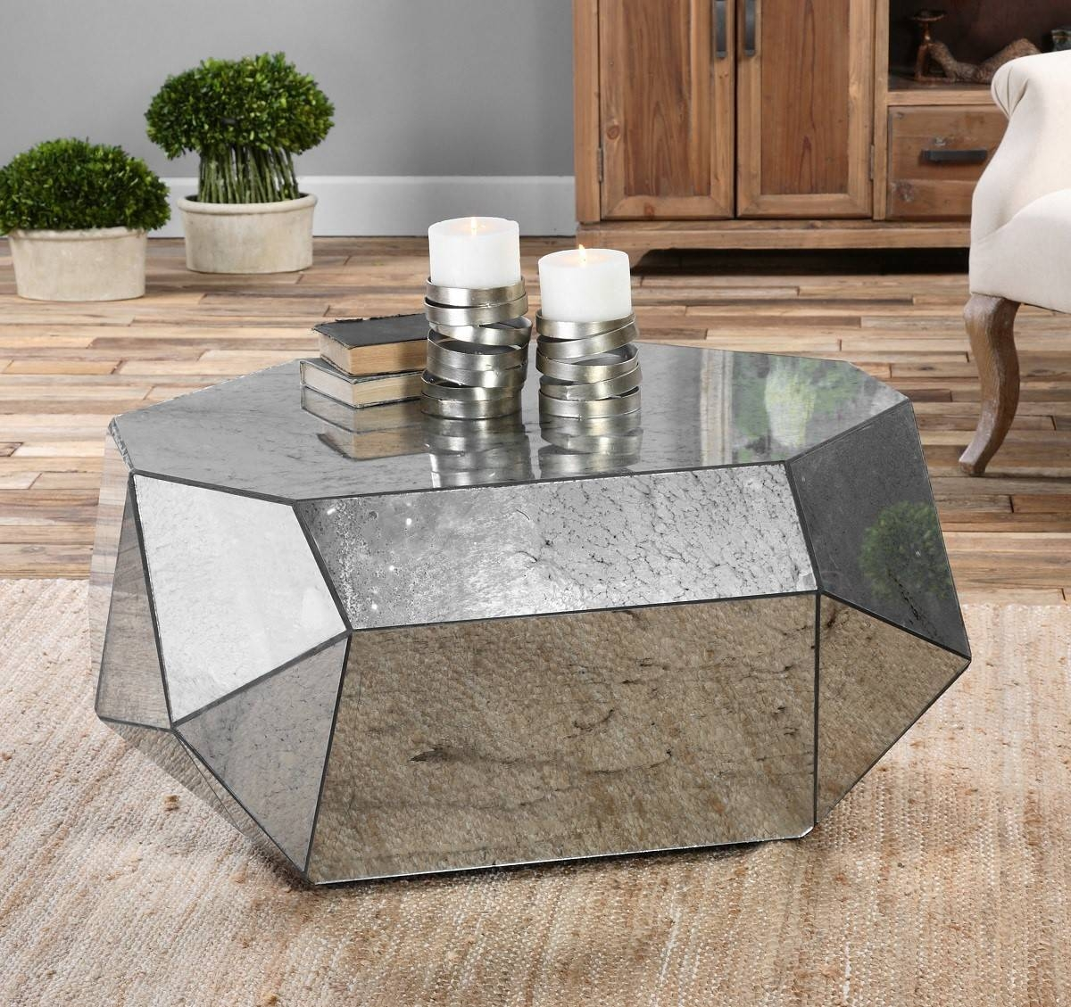 Furniture. Mirrored Coffee Tables Ideas: Square Antique Mirrored with regard to Antique Mirrored Coffee Tables (Image 12 of 30)