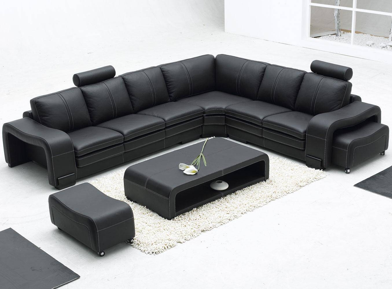 Furniture: Modern Bonded Leather Sectional Sofa In Black And within Long Modern Sofas (Image 11 of 30)