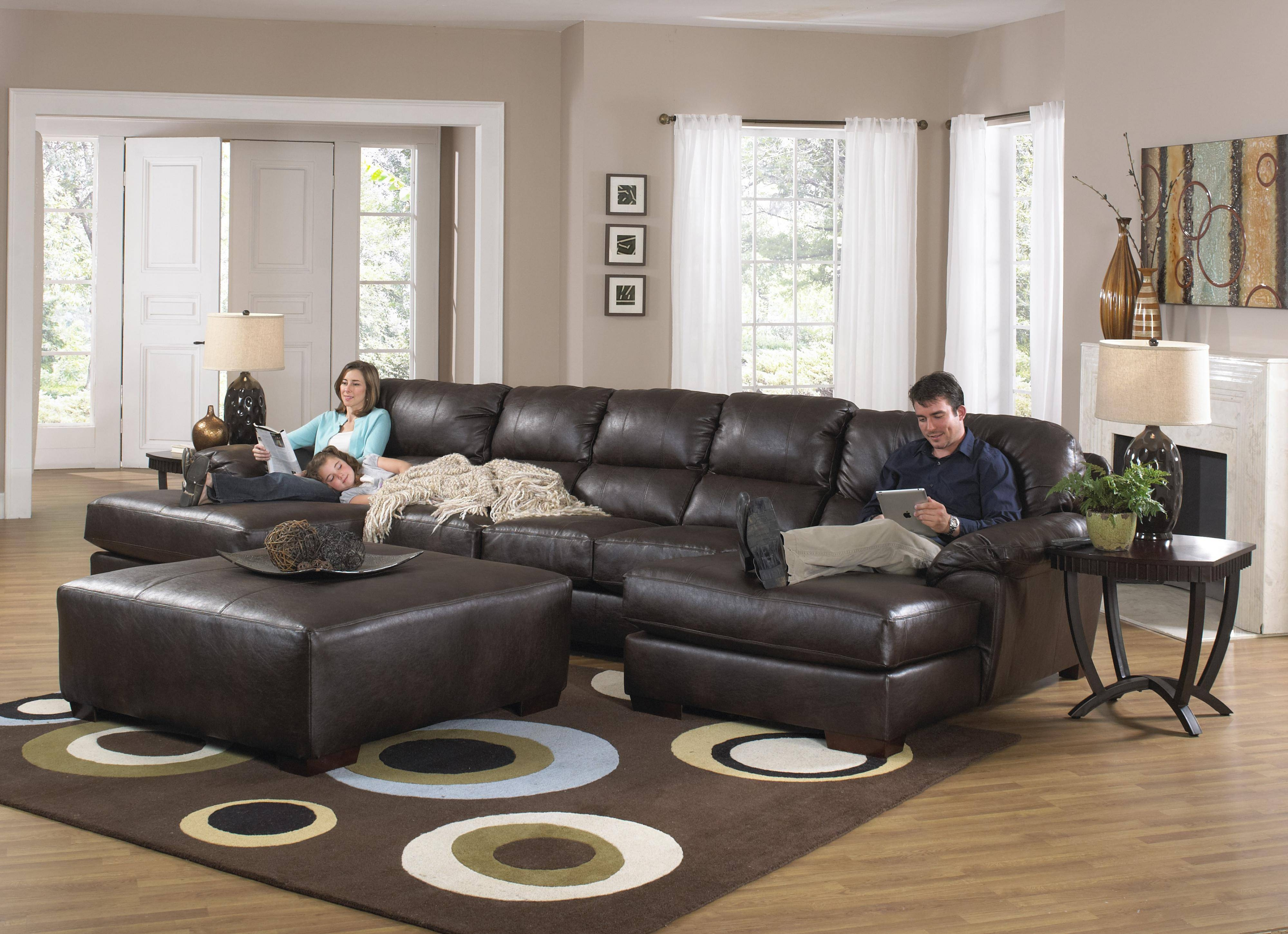 Furniture: Modern Chaise Sectional With Classic Comfortable Design Regarding Sectional Sofa With Large Ottoman (Photo 28 of 30)