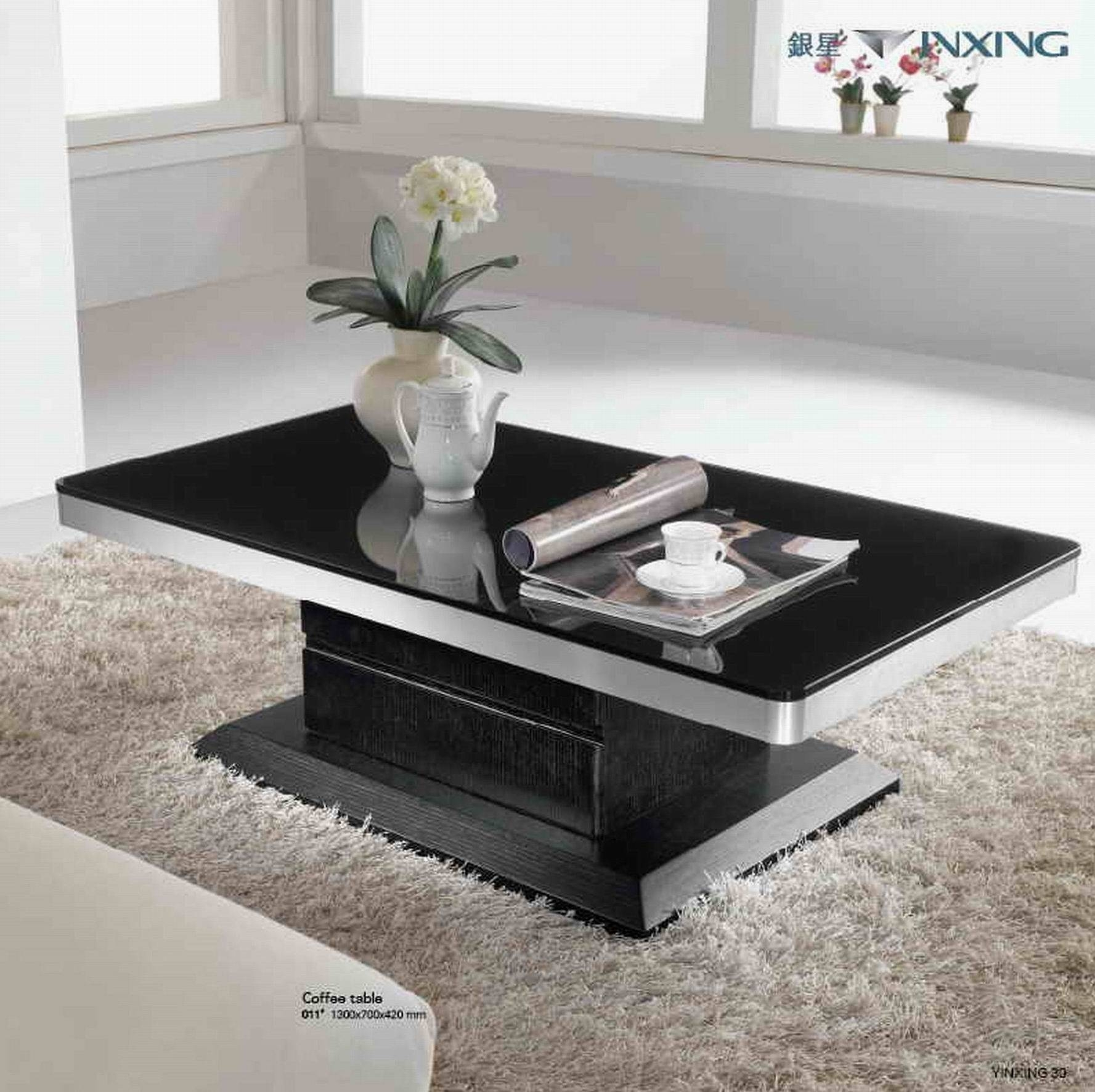 Furniture Modern Coffee Table Sets: Black Rectangle Wood And for Black Wood and Glass Coffee Tables (Image 14 of 30)