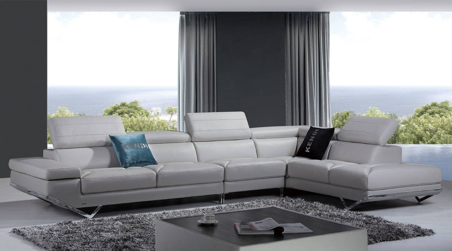 Furniture: Modern Leather Sectional Sofa Living Room And Modern regarding Gray Leather Sectional Sofas (Image 14 of 30)