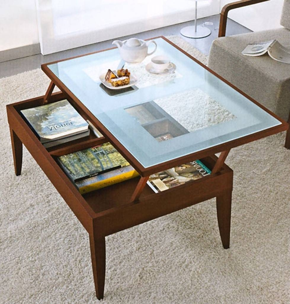 Furniture. Modern Lift Top Coffee Table Ideas: Brown Rectangle within Coffee Tables With Glass Top Display Drawer (Image 23 of 30)