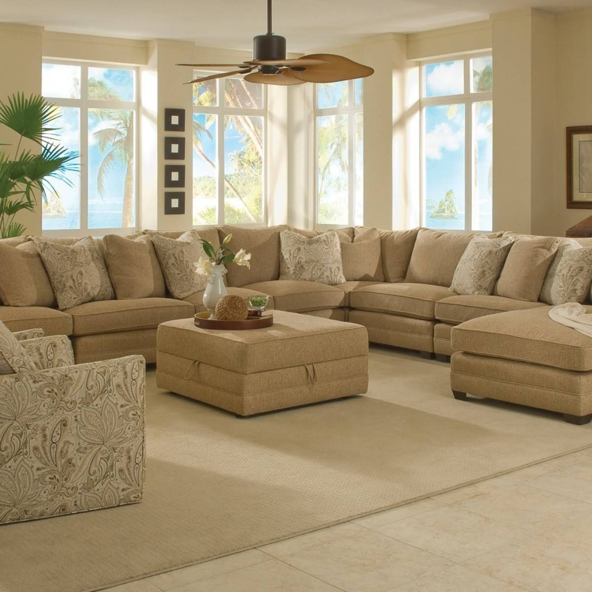 Furniture: Nice Extra Large Sectional Sofa For Large Living Room Within Sectional Sofa With Large Ottoman (Photo 8 of 30)