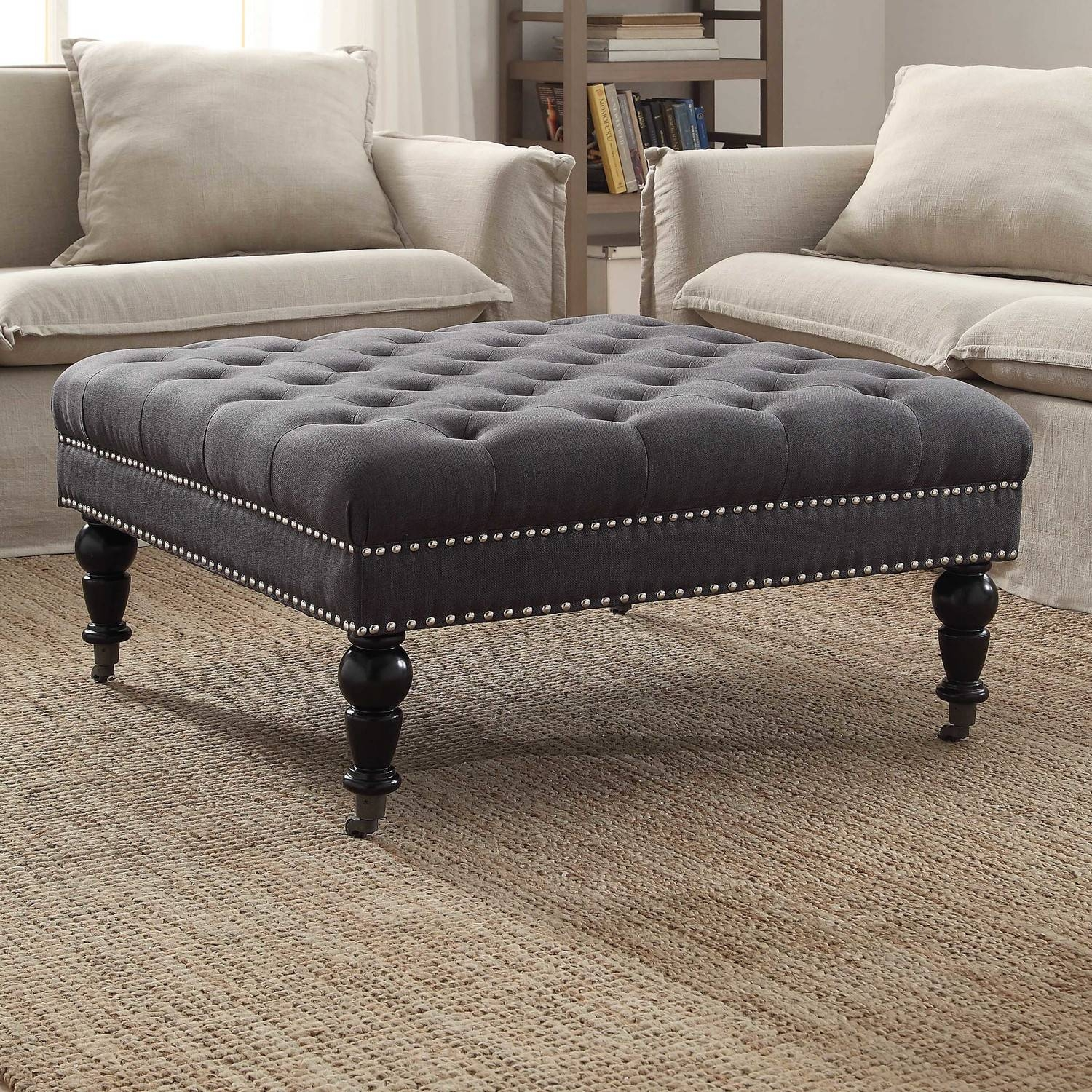 Furniture: Nice Oversized Ottoman For Living Room Furniture Idea Intended For Round Upholstered Coffee Tables (View 17 of 30)