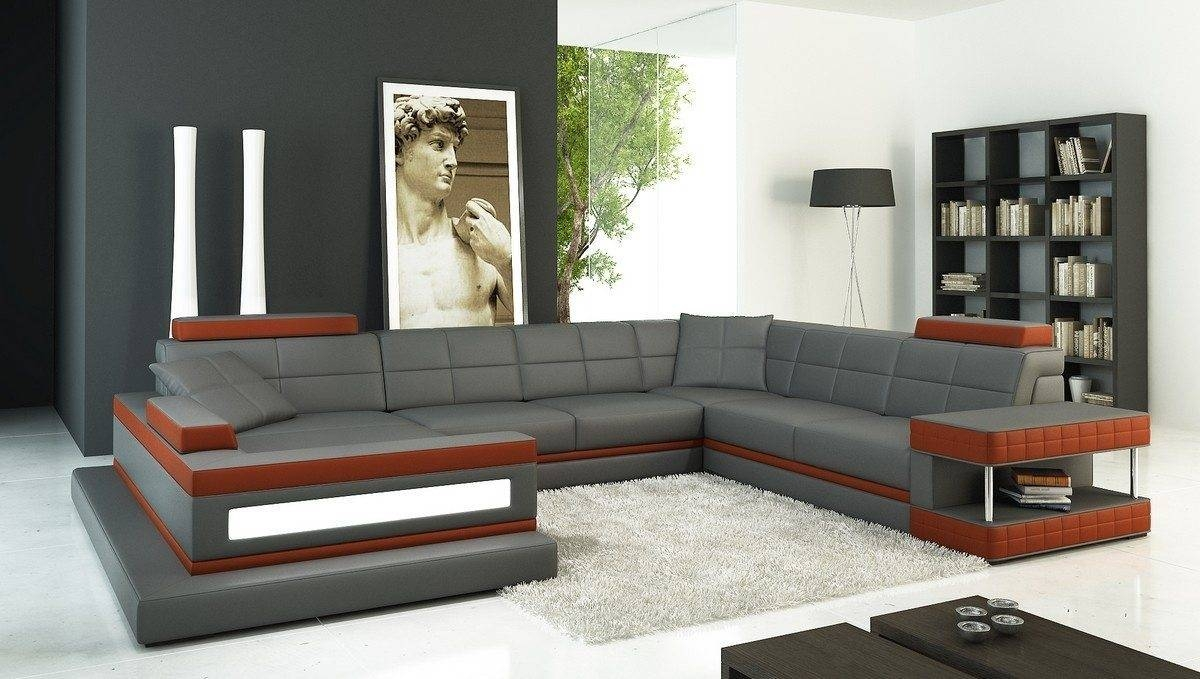 Furniture: Nostalgic Fancy Gray Leather Sectional For Living Room with Long Sectional Sofa With Chaise (Image 9 of 30)