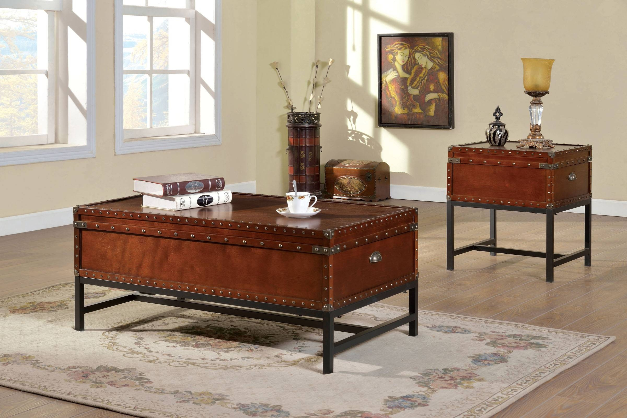Furniture Of America Cm4110C Cm4110E Milbank 2 Pieces Industrial in Cherry Wood Coffee Table Sets (Image 19 of 30)