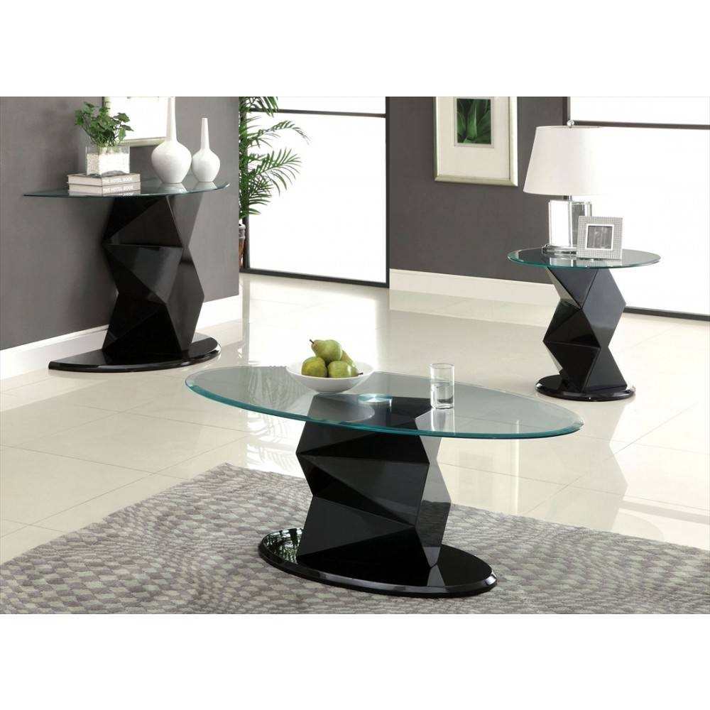 Furniture Of America Halawa V Oval Glass Coffee Table In Black throughout Oval Black Glass Coffee Tables (Image 13 of 30)