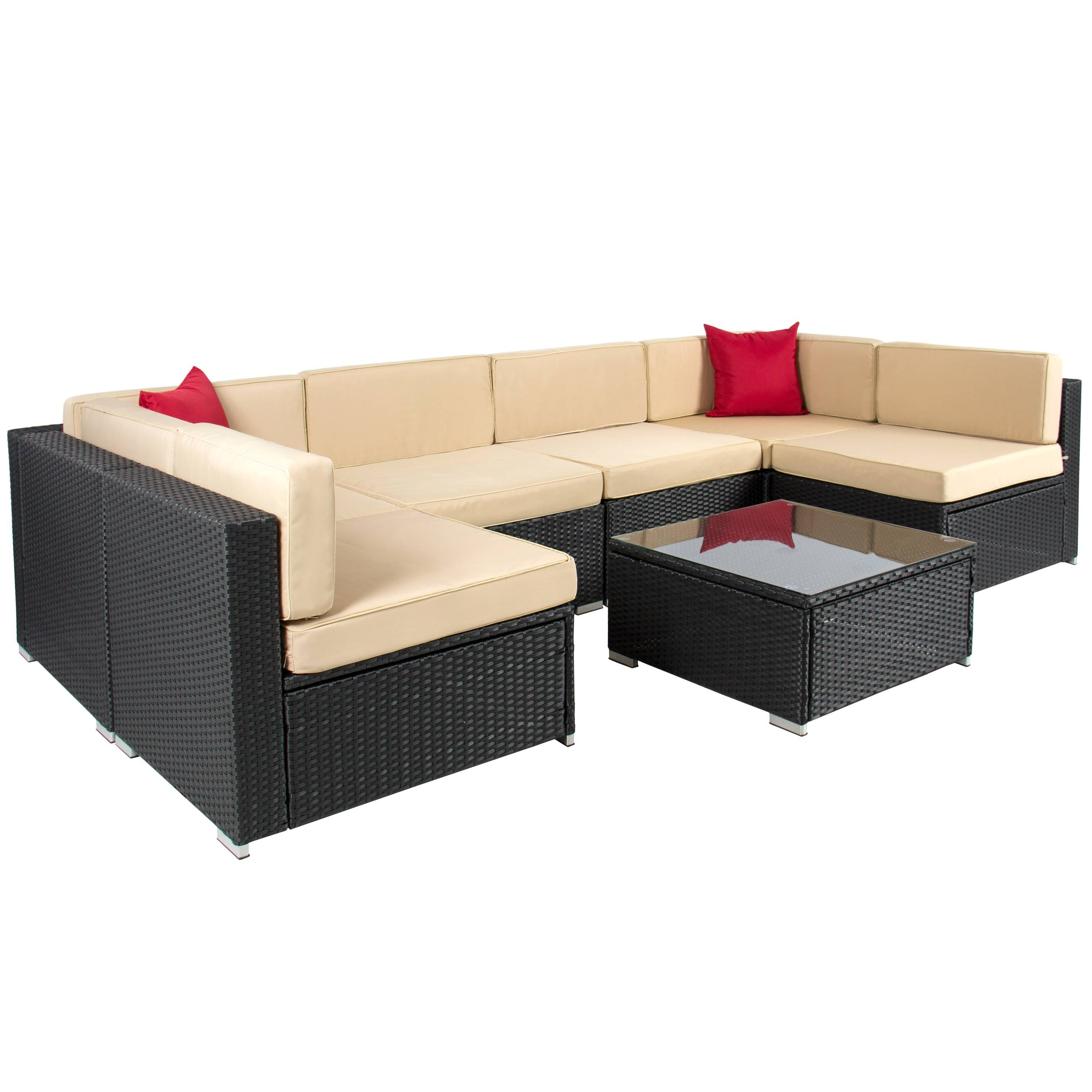 Furniture: Outdoor Sectional Sofa With Outdoor Patio Garden Wicker intended for Modern Rattan Sofas (Image 15 of 30)