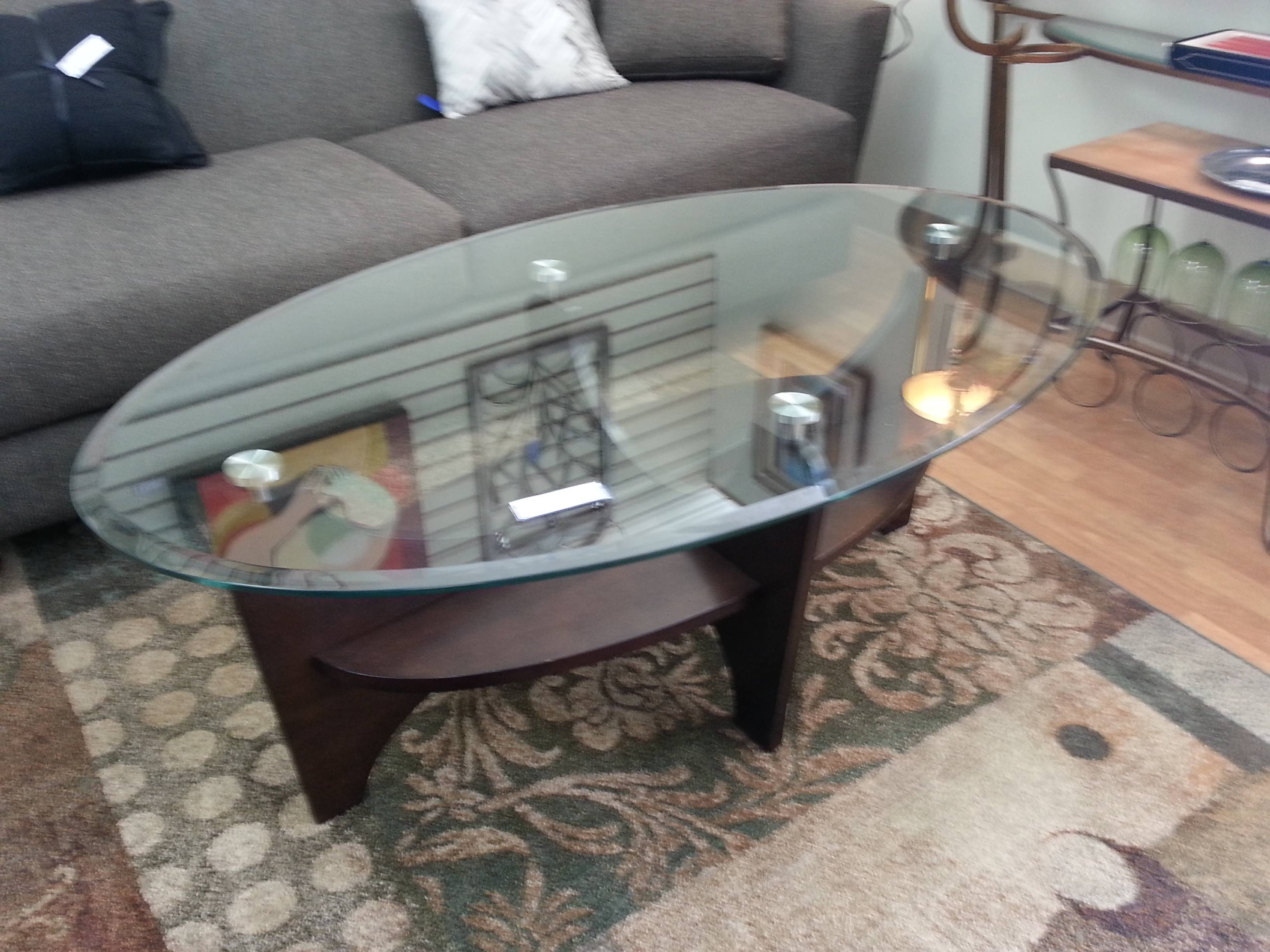 Furniture: Oval Cocktail Table | Oval Glass Coffee Table | Small throughout Oval Glass And Wood Coffee Tables (Image 17 of 30)