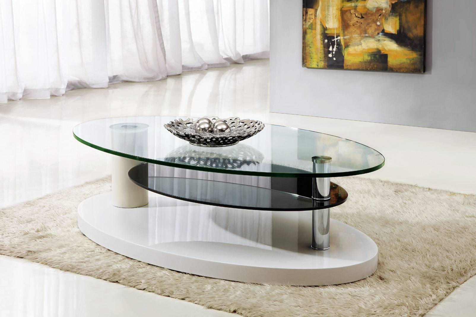 Furniture: Oval Glass Contemporary White Coffee Tables On Creamy regarding Oval White Coffee Tables (Image 17 of 30)