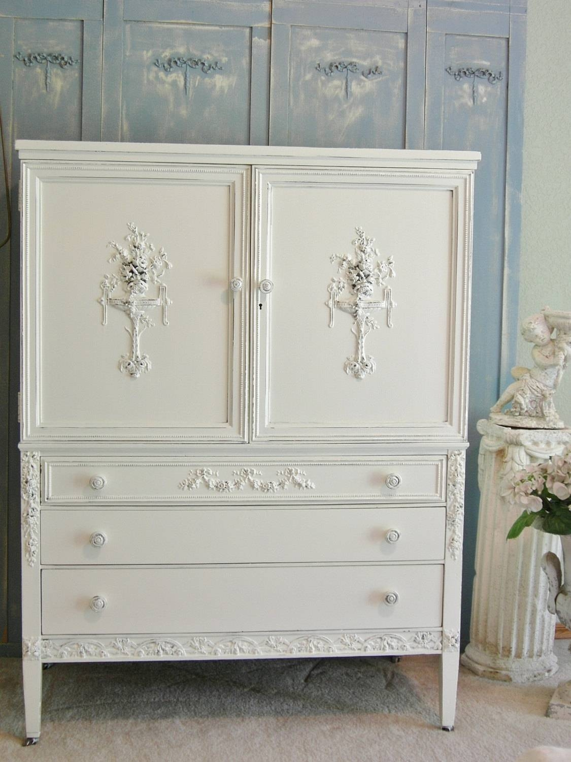 Furniture: Painted Armoire | Large Armoire Wardrobe | Antique inside French Wardrobes for Sale (Image 10 of 15)