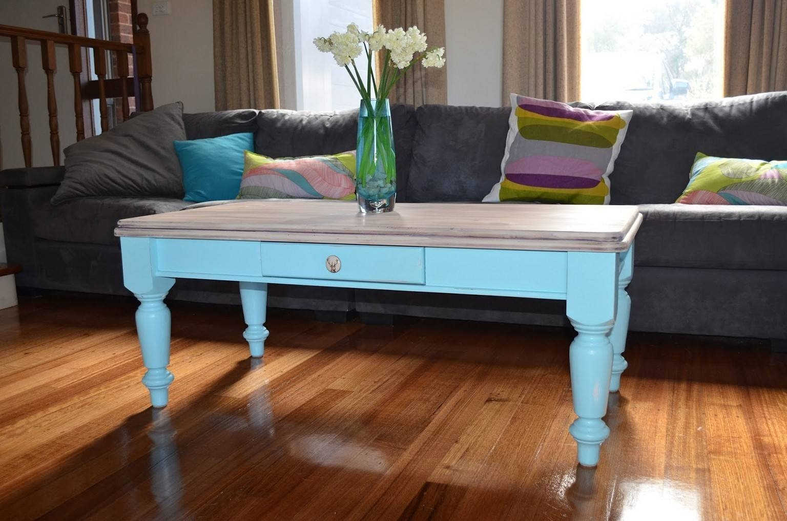 Furniture: Painted Coffee Table Ideas Coffee Table Redo Ideas, How intended for Blue Coffee Tables (Image 23 of 30)