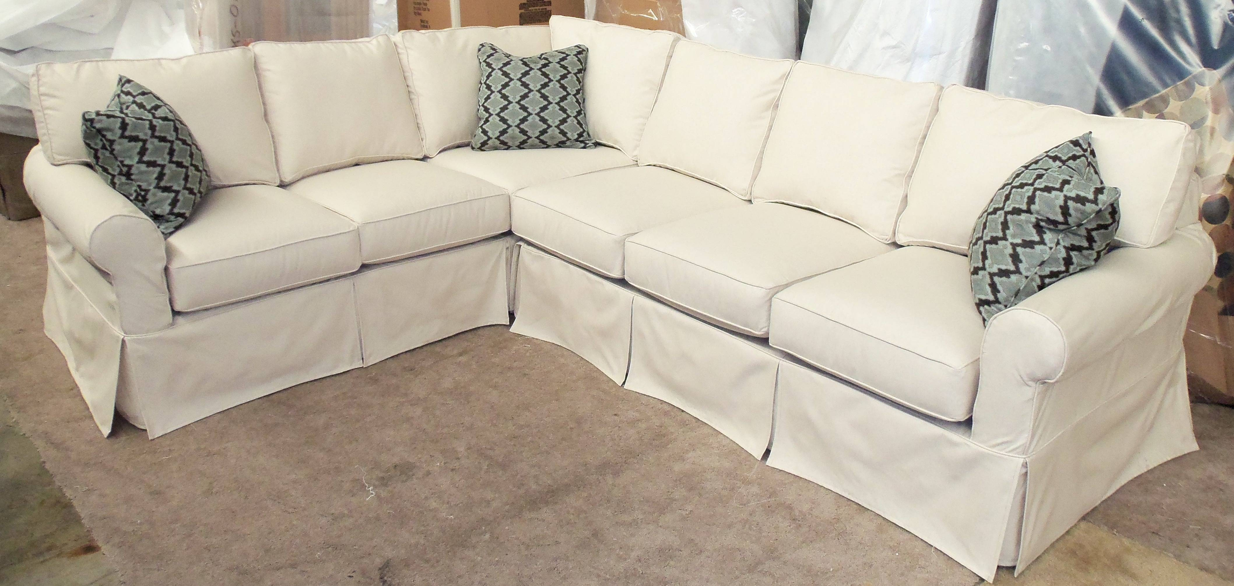 Furniture: Pretty Slipcovered Sectional Sofa For Comfy Your Living intended for Slipcovers For Sectional Sofas With Recliners (Image 11 of 30)