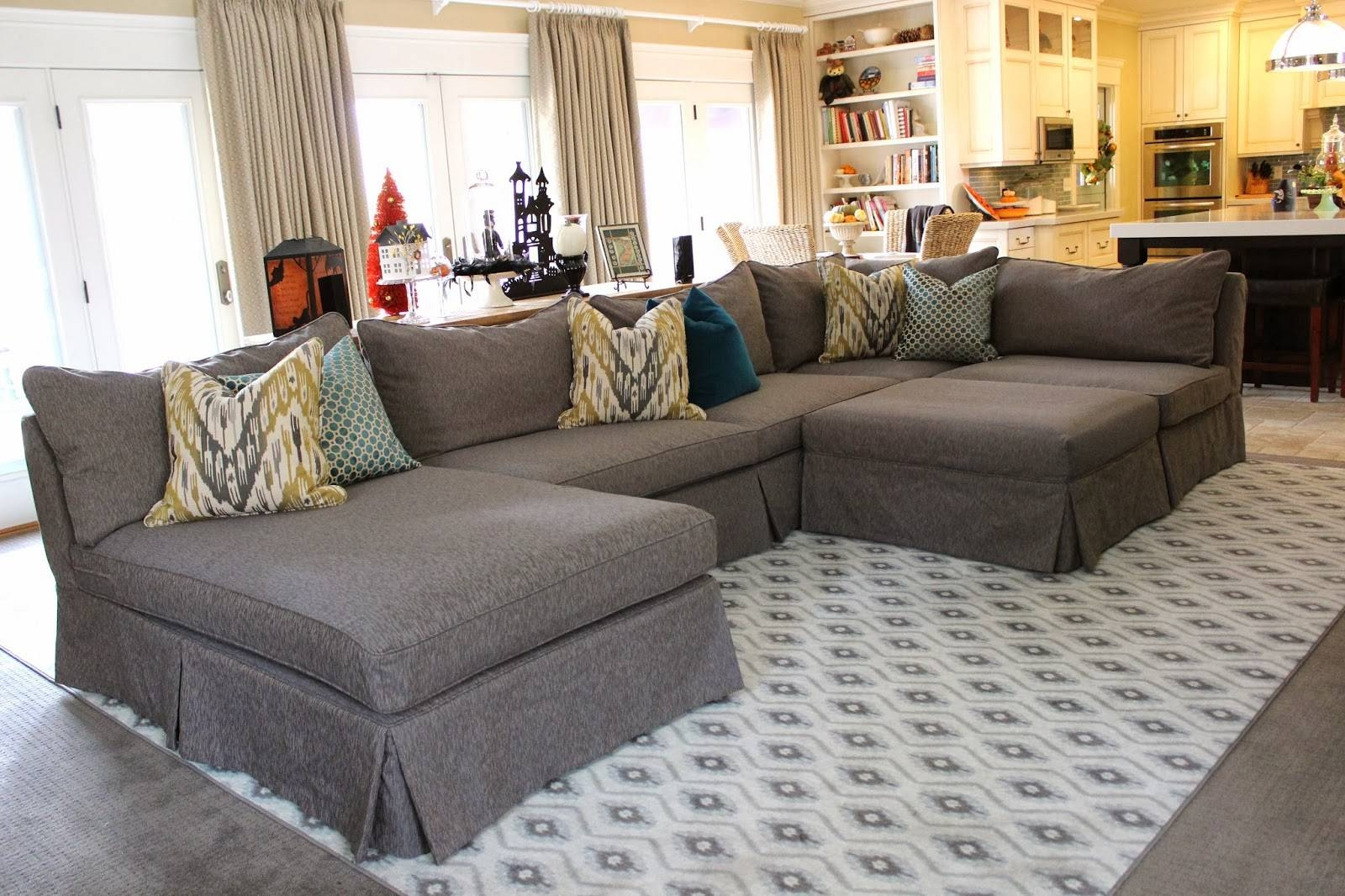 Furniture: Pretty Slipcovered Sectional Sofa For Comfy Your Living within Slipcover for Leather Sectional Sofas (Image 9 of 30)