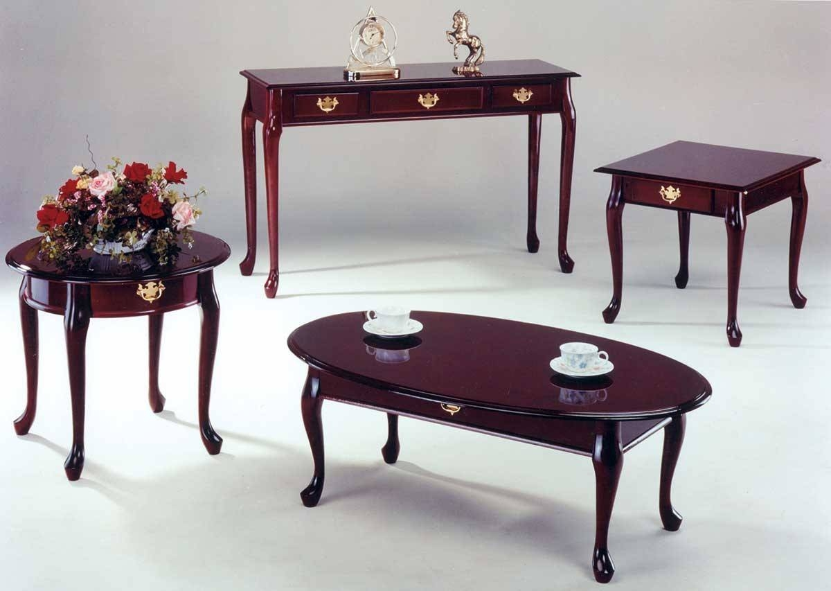 Furniture. Queen Anne Coffee Table Designs: Dark Brown Oval Rustic with regard to Cherry Wood Coffee Table Sets (Image 22 of 30)