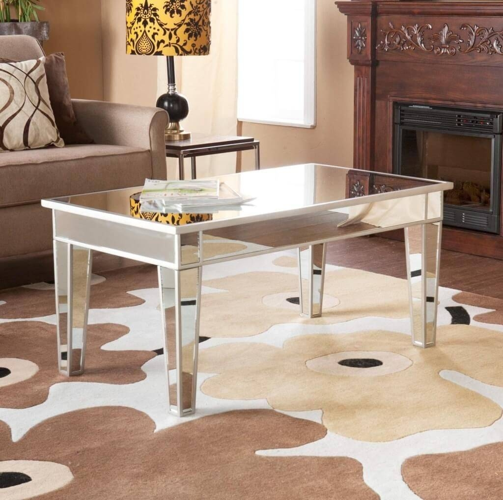 Furniture: Rectangle Mirrored Coffee Table With Wooden Beveled In Coffee Tables Mirrored (View 18 of 30)