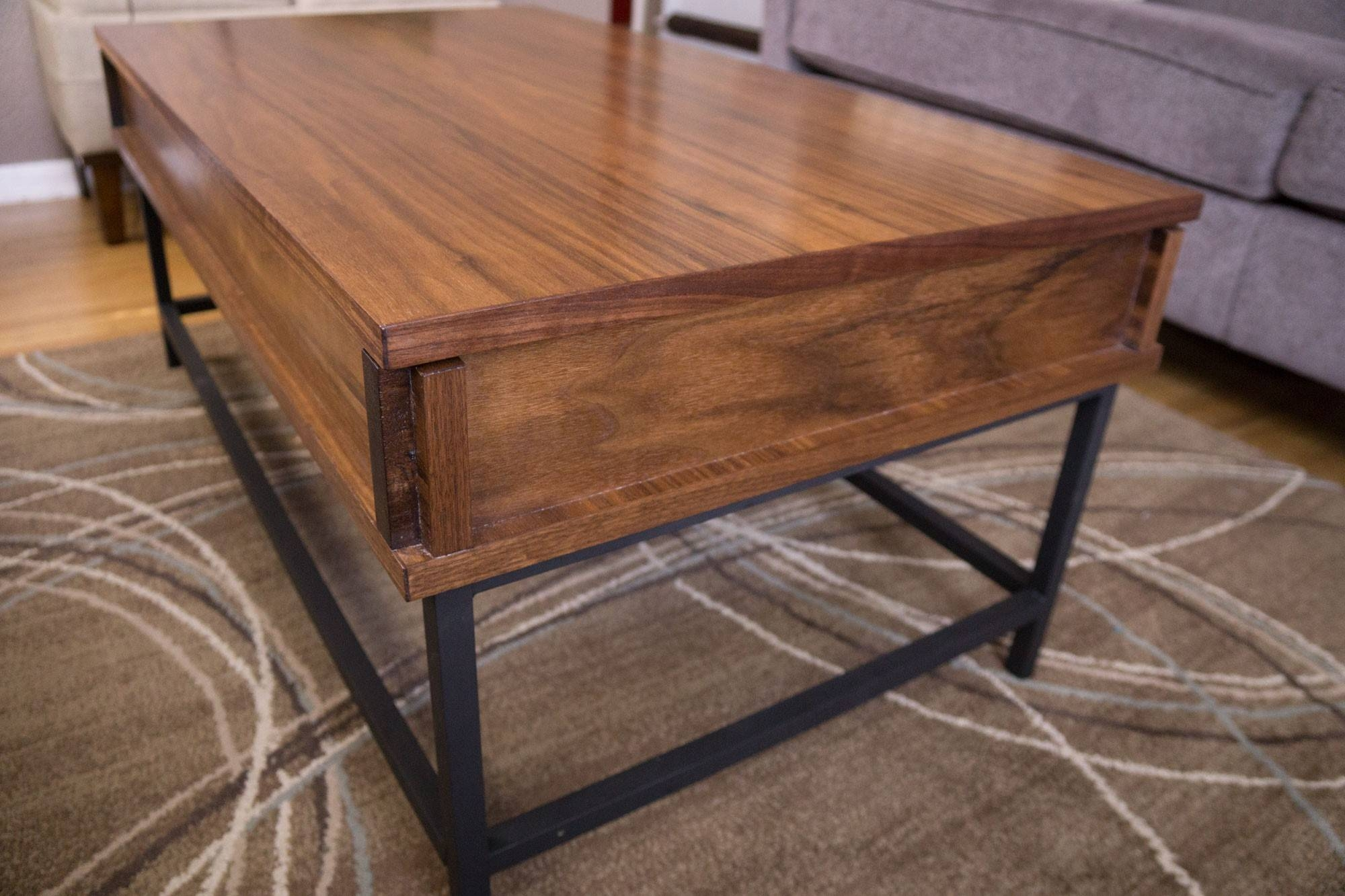 Furniture. Rising Coffee Table Ideas: Dark Brown Rectangle Vintage throughout Rising Coffee Tables (Image 14 of 30)