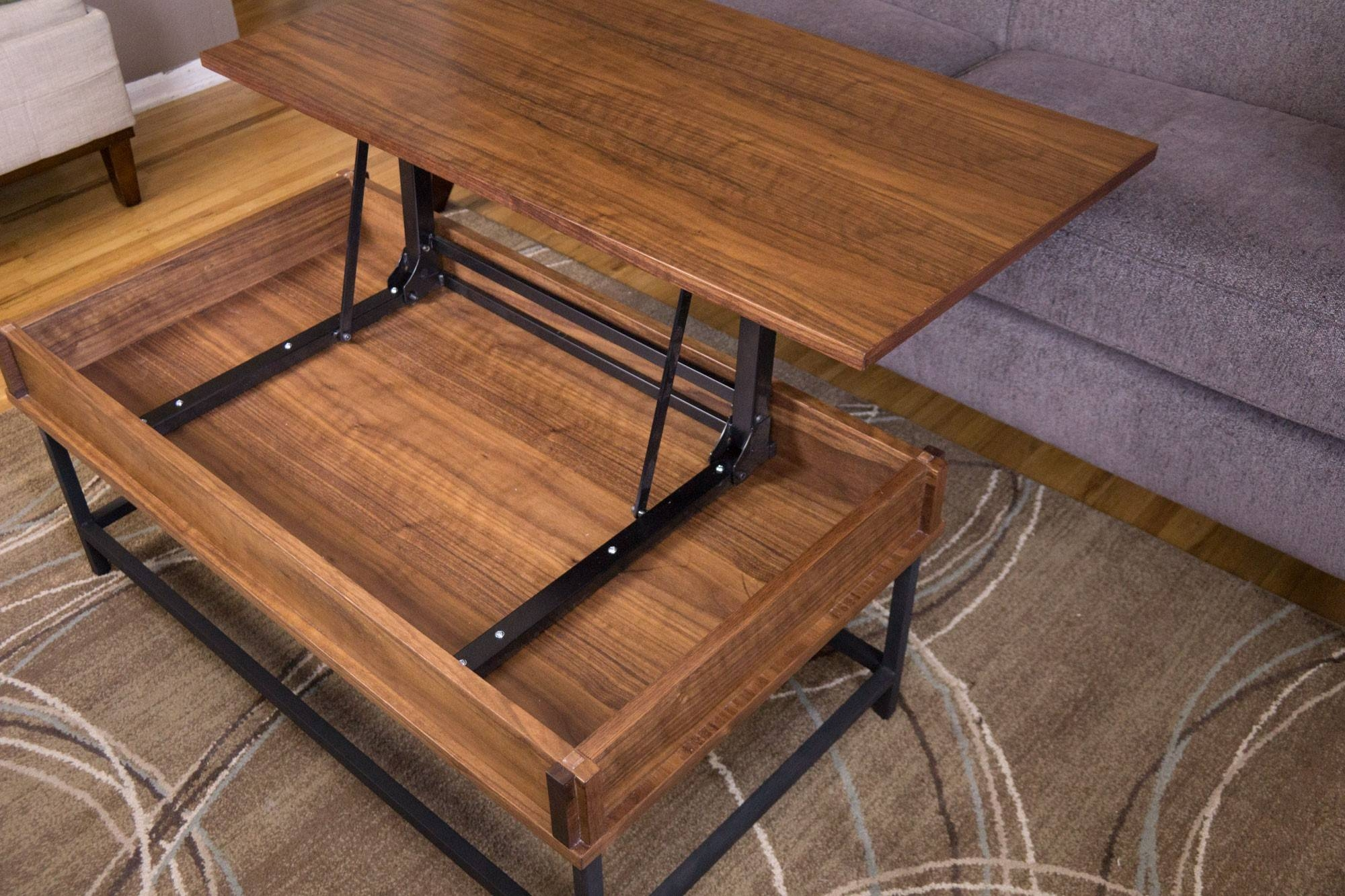 Furniture. Rising Coffee Table Ideas: Teak Rectangle Rustic Wood inside Rising Coffee Tables (Image 15 of 30)