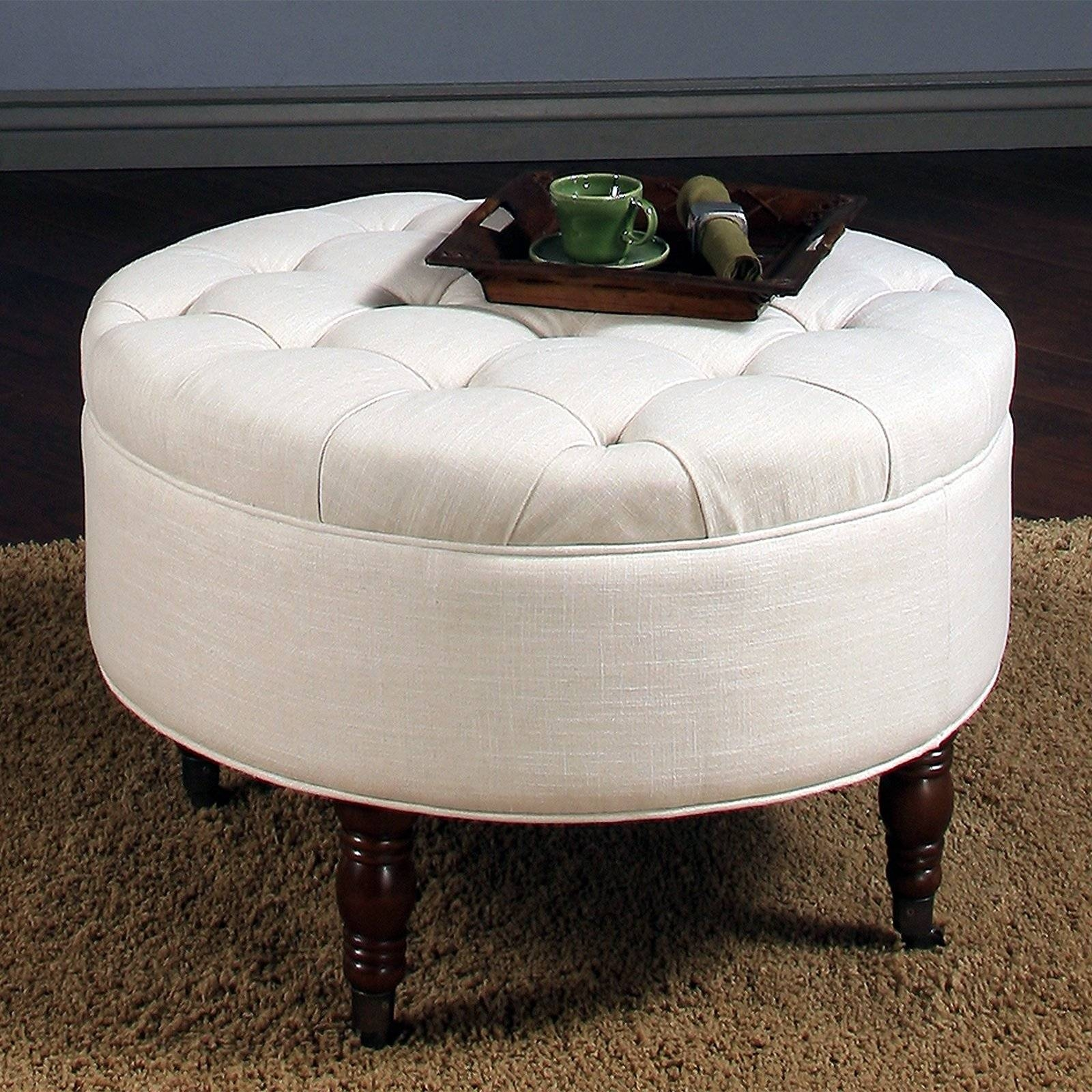 Furniture : Round Brown Leather Ottoman Coffee Table With Round Regarding Round Upholstered Coffee Tables (View 24 of 30)