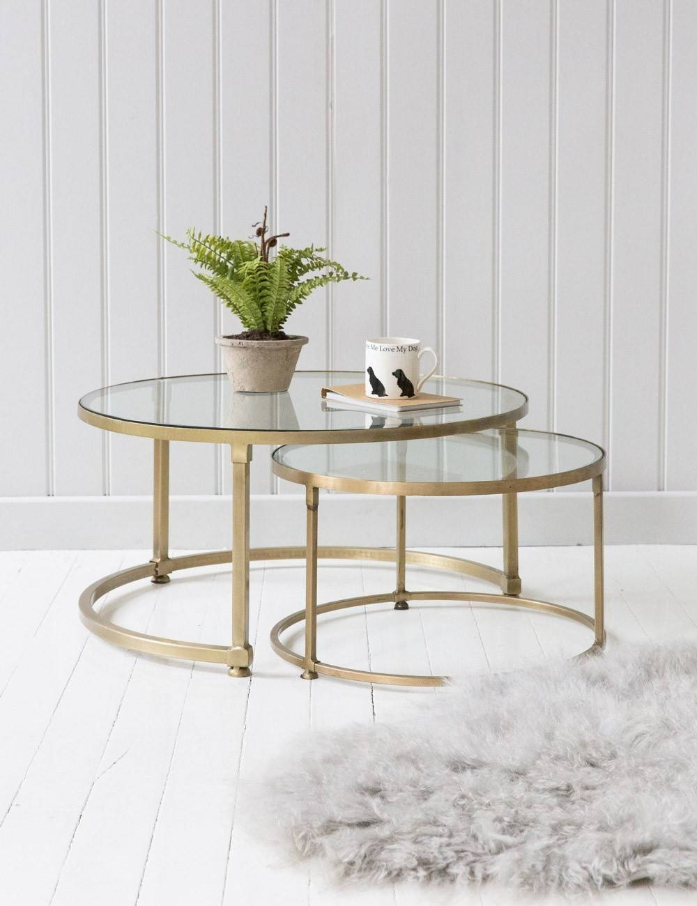 Furniture Round Coffee Table Sets Ideas: Gold Metal Frame Legs pertaining to Glass Gold Coffee Tables (Image 16 of 30)