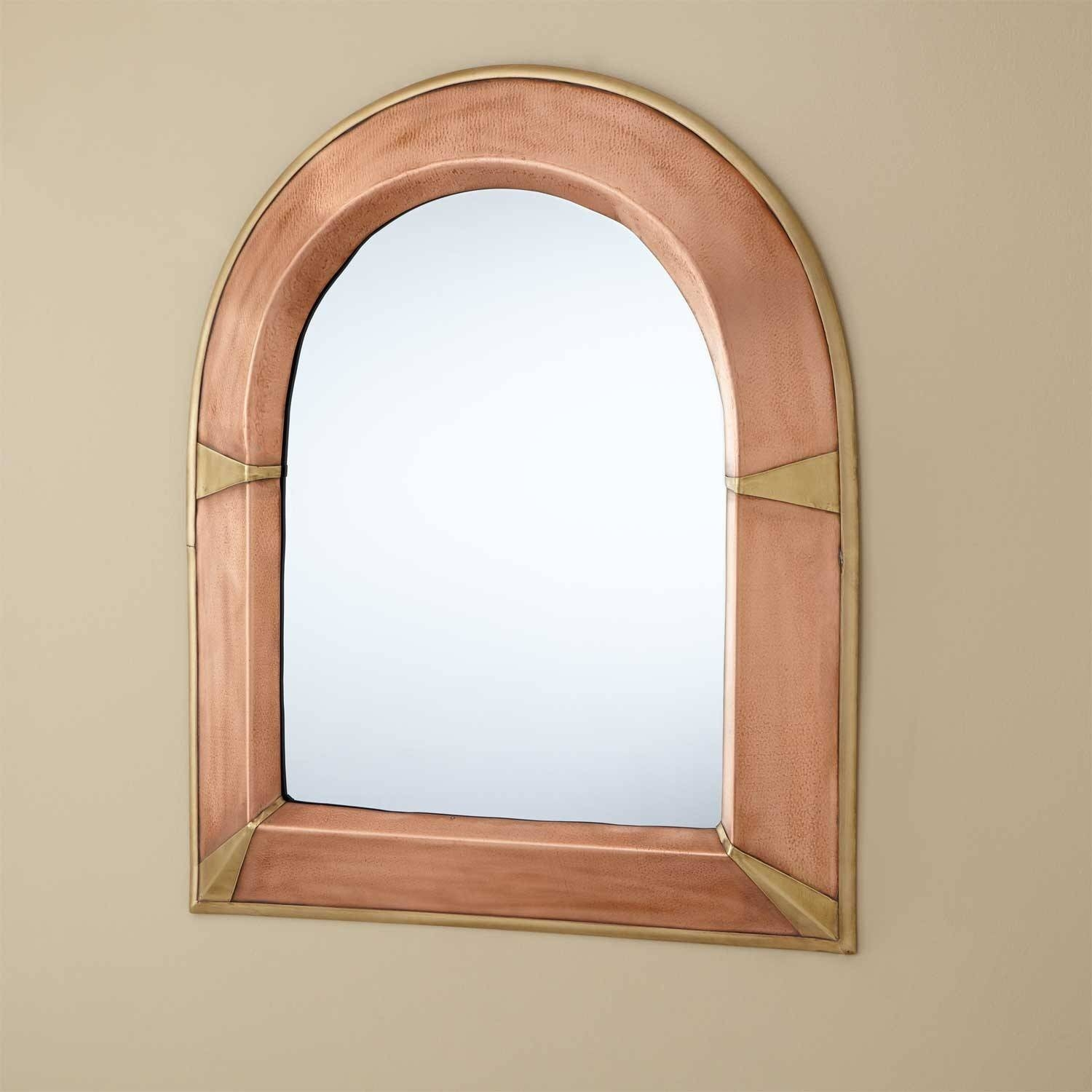 Furniture: Rustic Wood Arched Mirror For Home Furniture Ideas intended for Antique Arched Mirrors (Image 19 of 25)